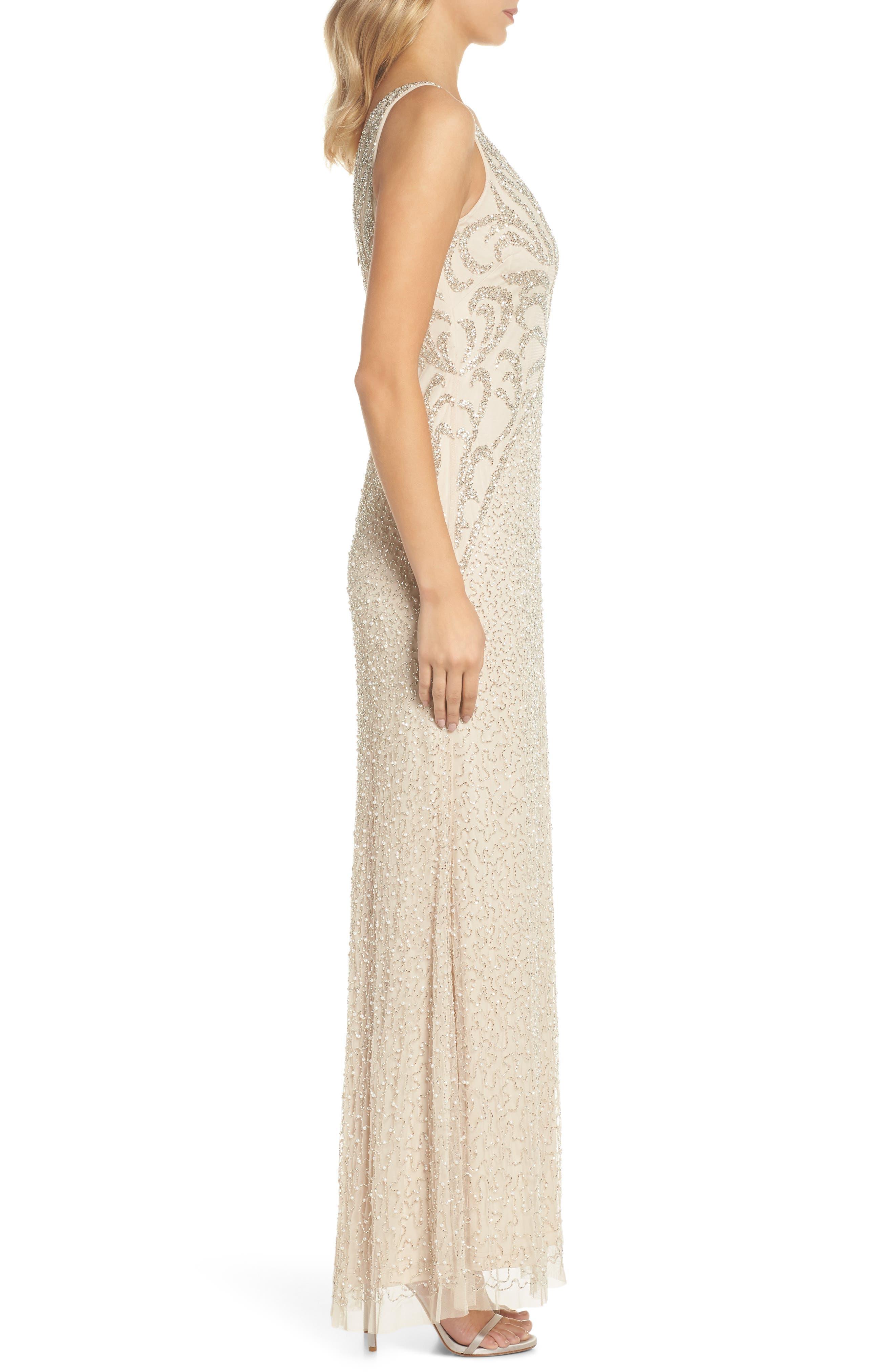 Beaded V-Neck Gown,                             Alternate thumbnail 3, color,                             250