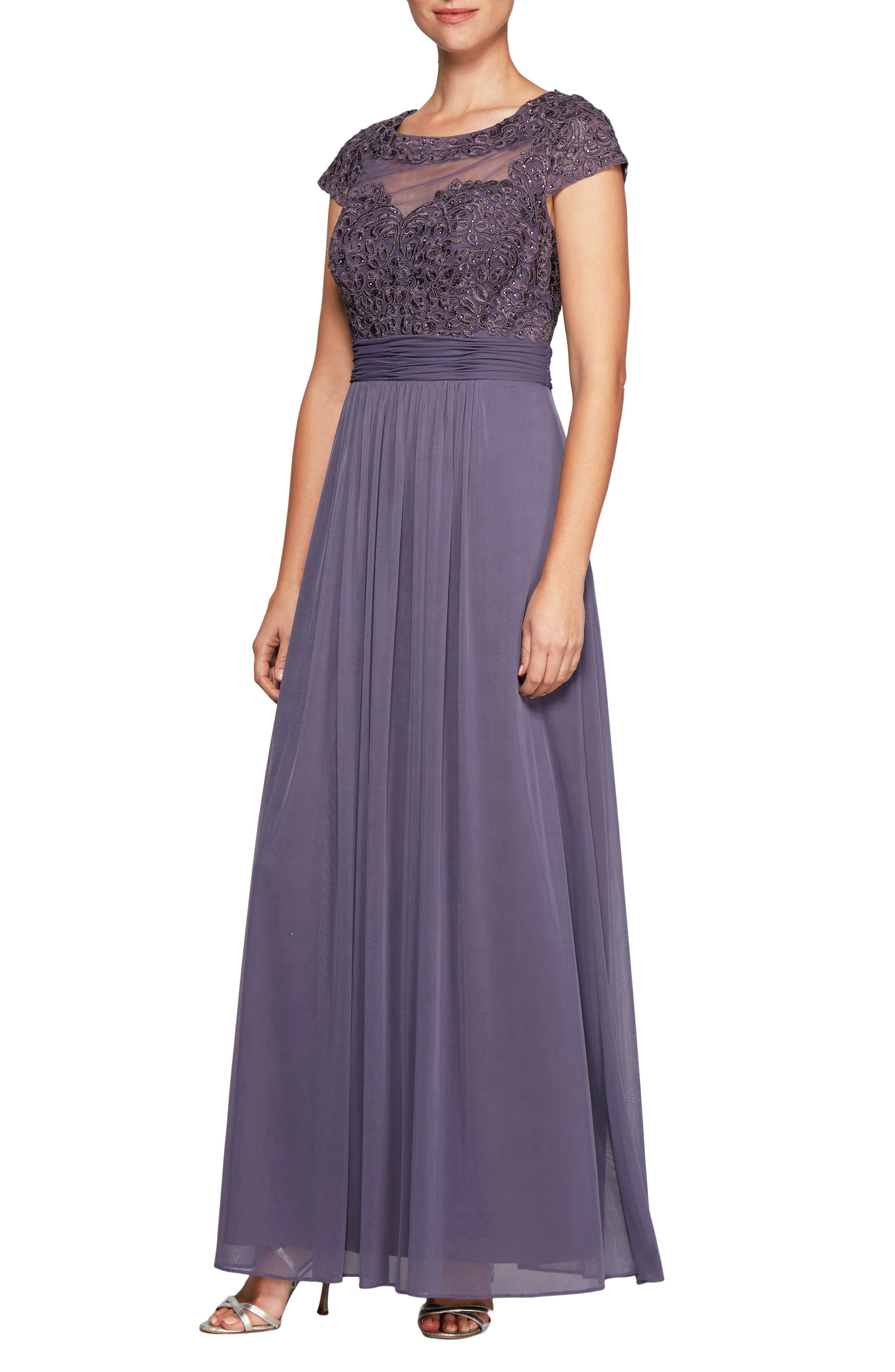 Embroidered A-Line Gown,                         Main,                         color, 515