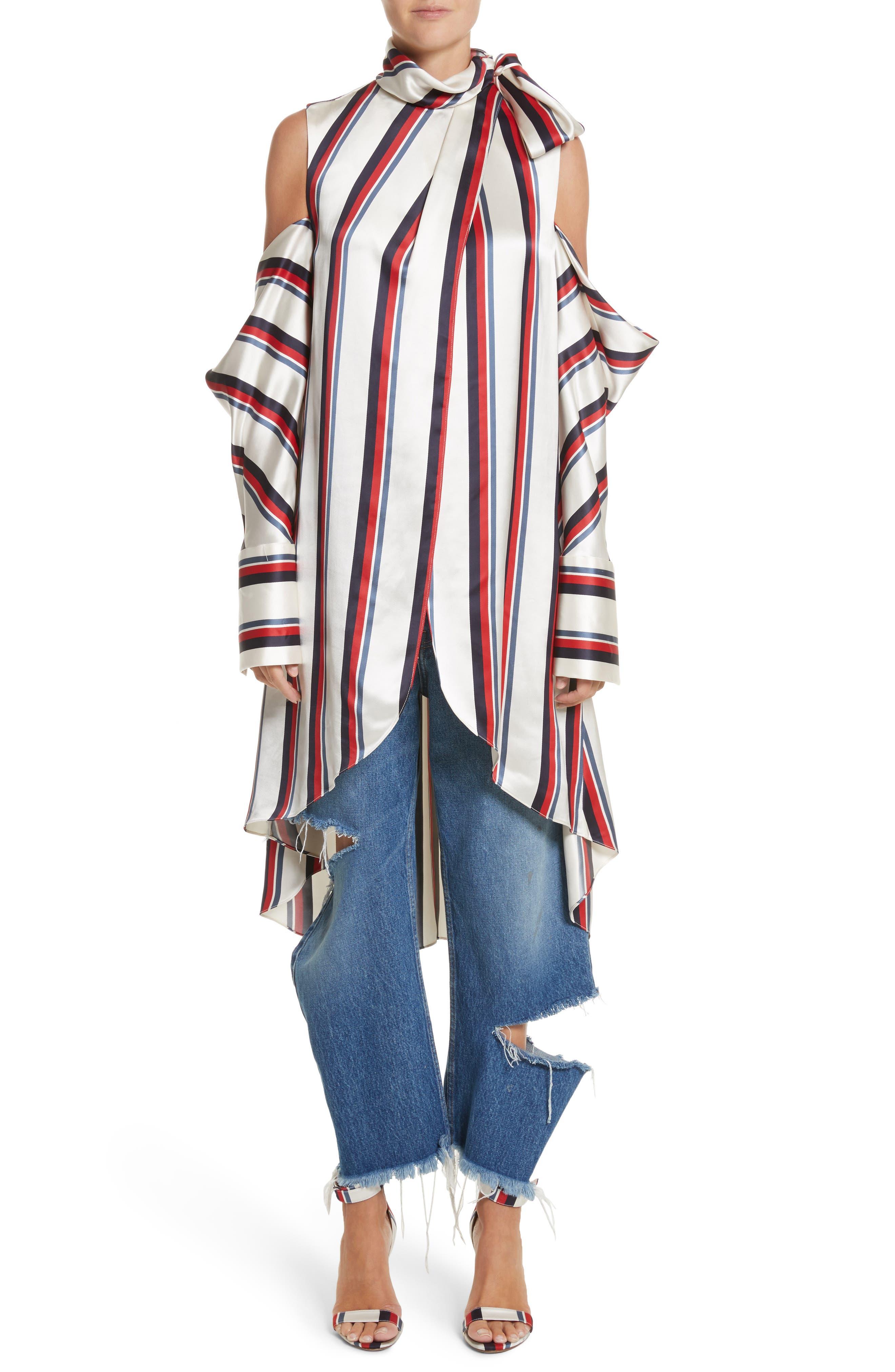 Stripe Off the Shoulder Blouse,                         Main,                         color,