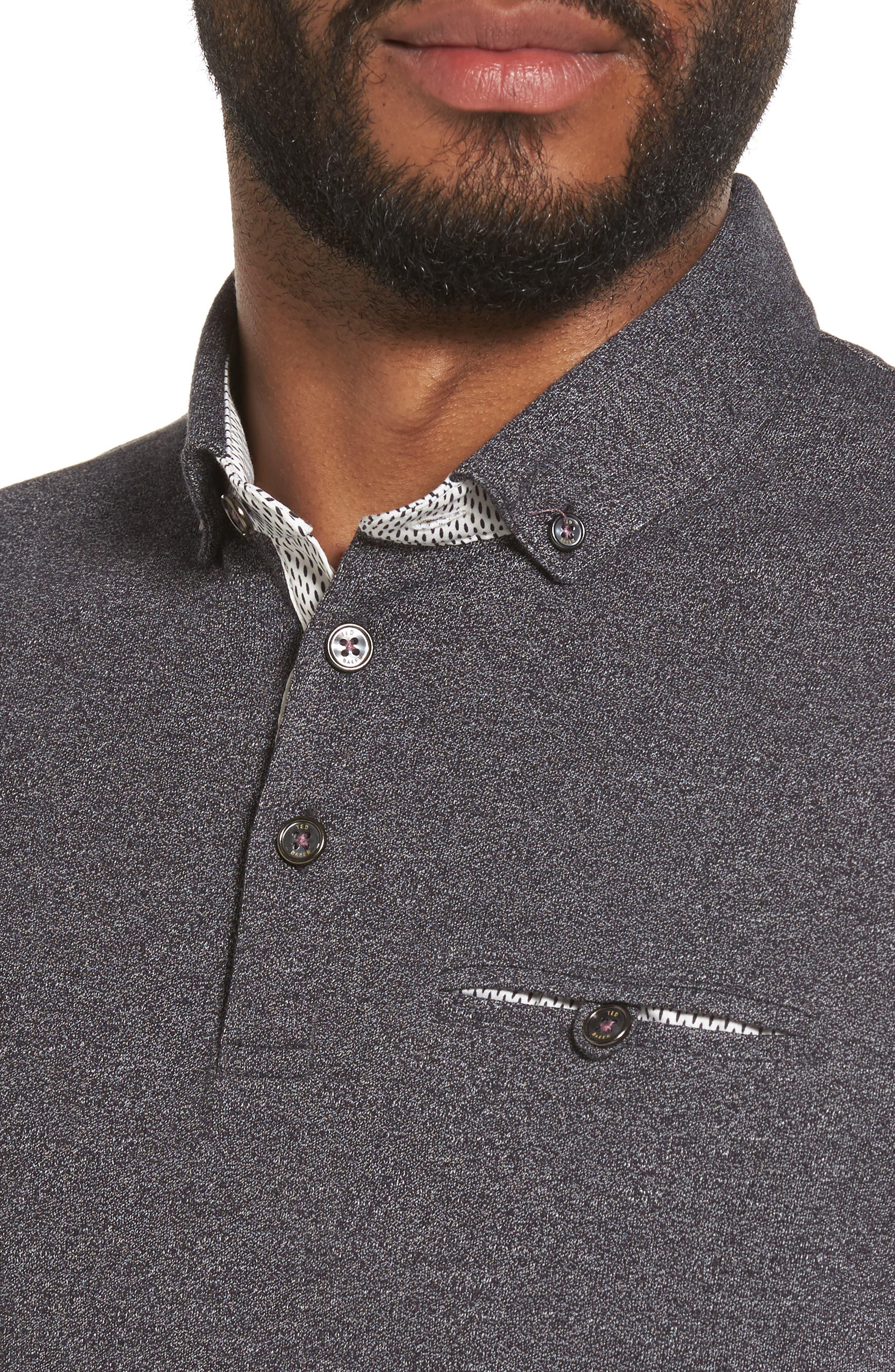 Frankiy Button Collar Polo,                             Alternate thumbnail 4, color,                             001