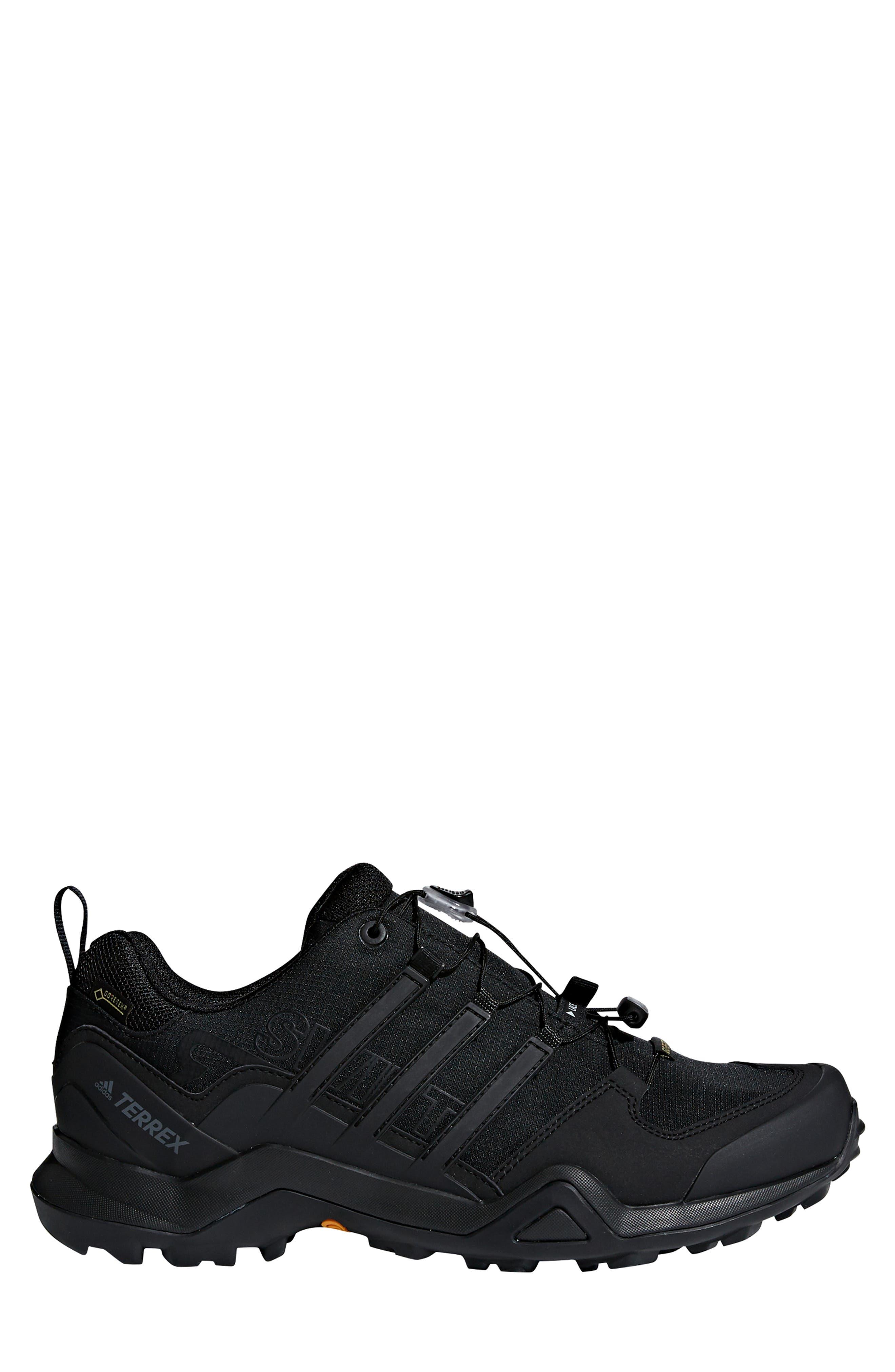 ADIDAS,                             Terrex Swift R2 GTX Gore-Tex<sup>®</sup> Waterproof Hiking Shoe,                             Alternate thumbnail 3, color,                             BLACK/ BLACK/ BLACK