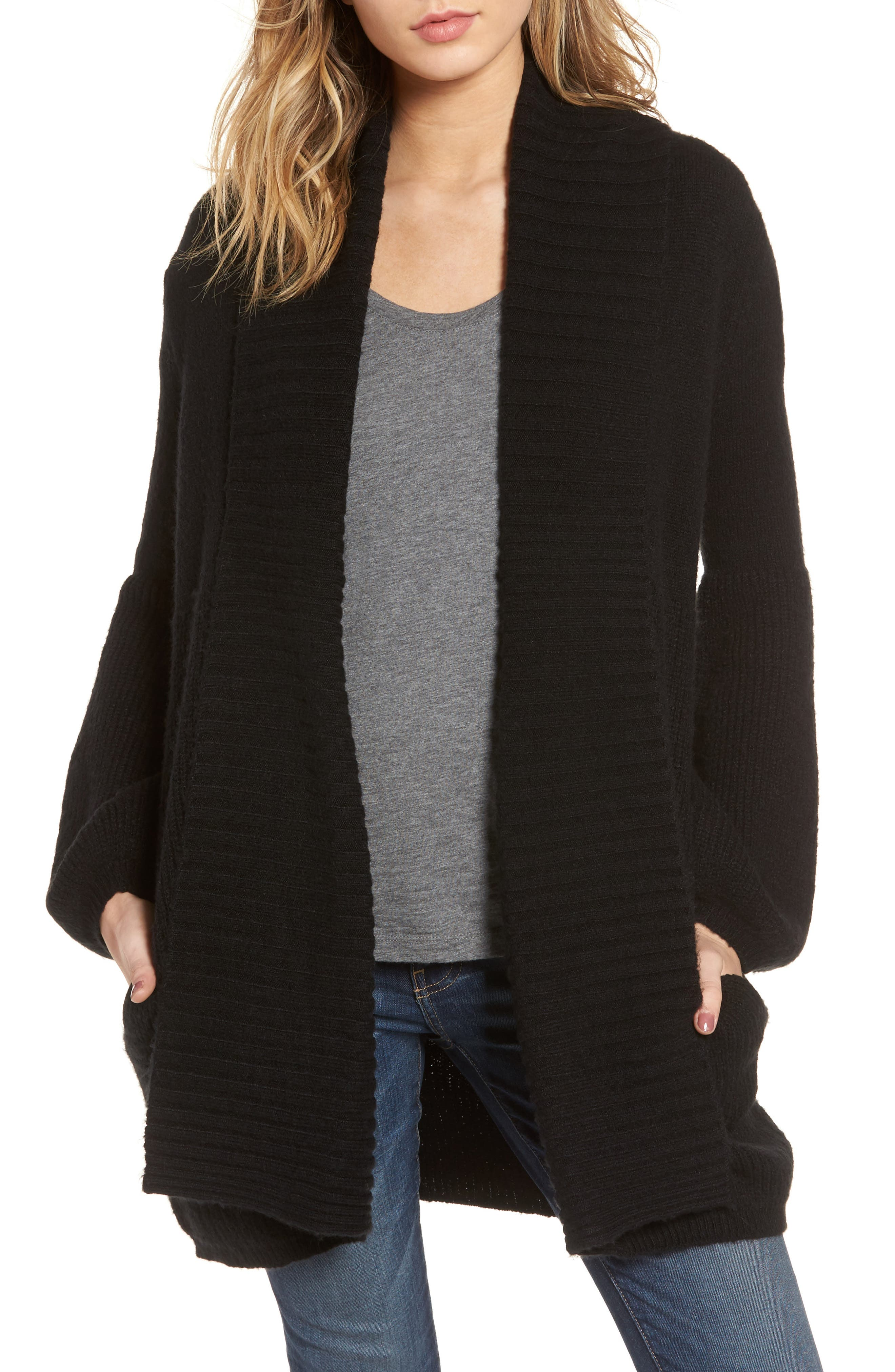 Ribbed Cardigan,                         Main,                         color, 001