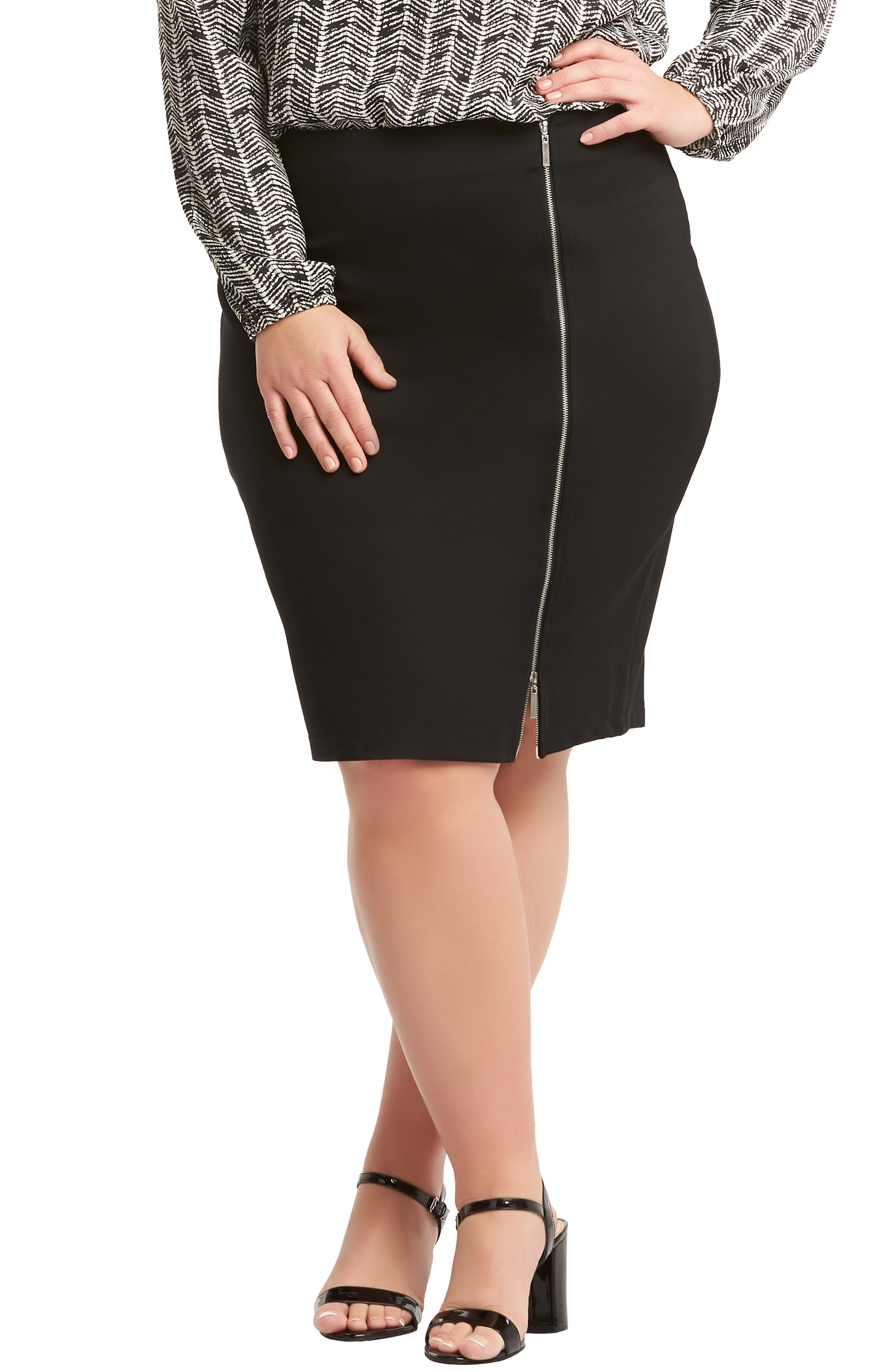 Plus Size Lemon Tart Arianna Zip Pencil Skirt, Black