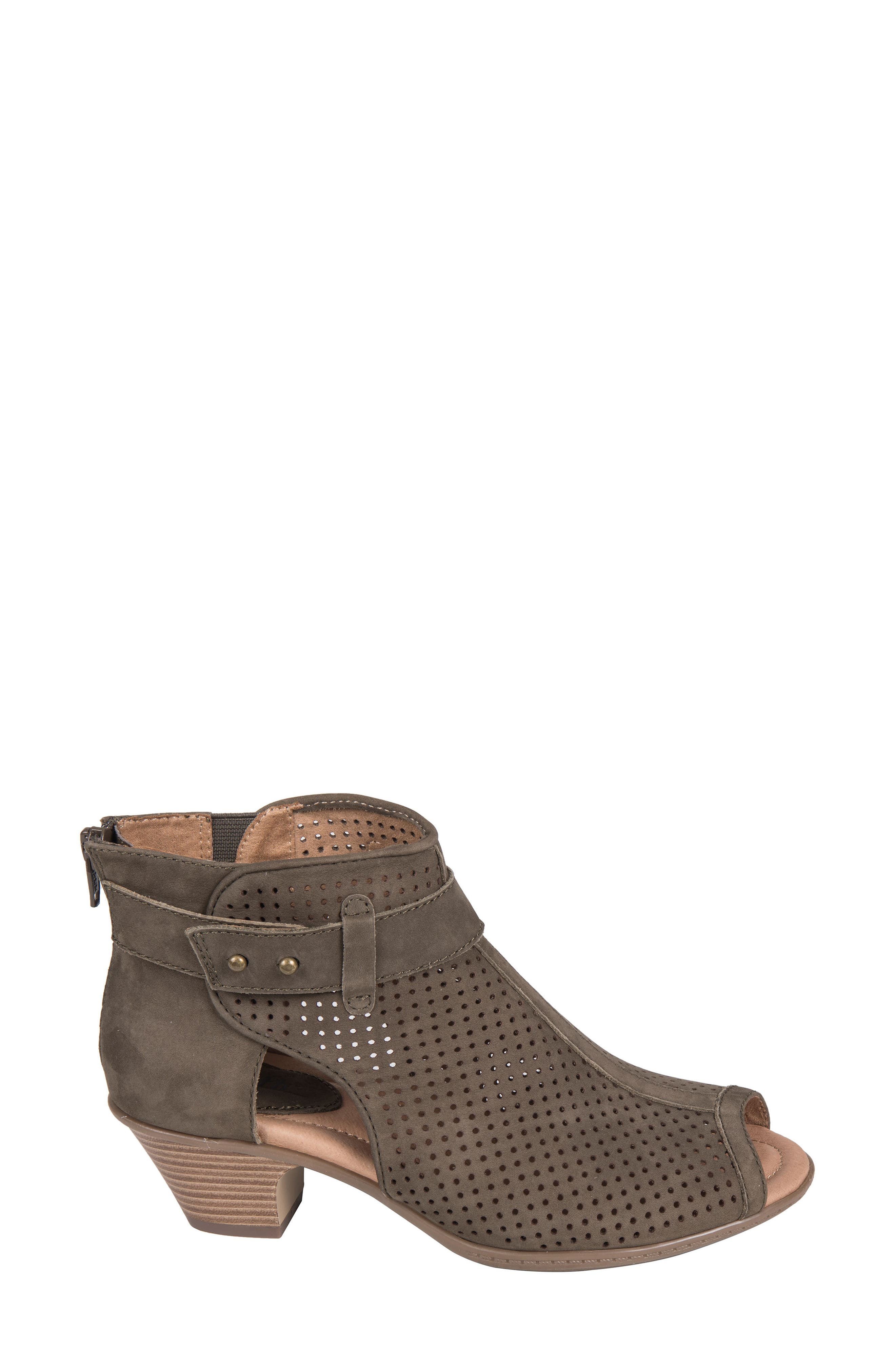 Intrepid Peep Toe Bootie,                             Alternate thumbnail 3, color,                             DARK OLIVE NUBUCK