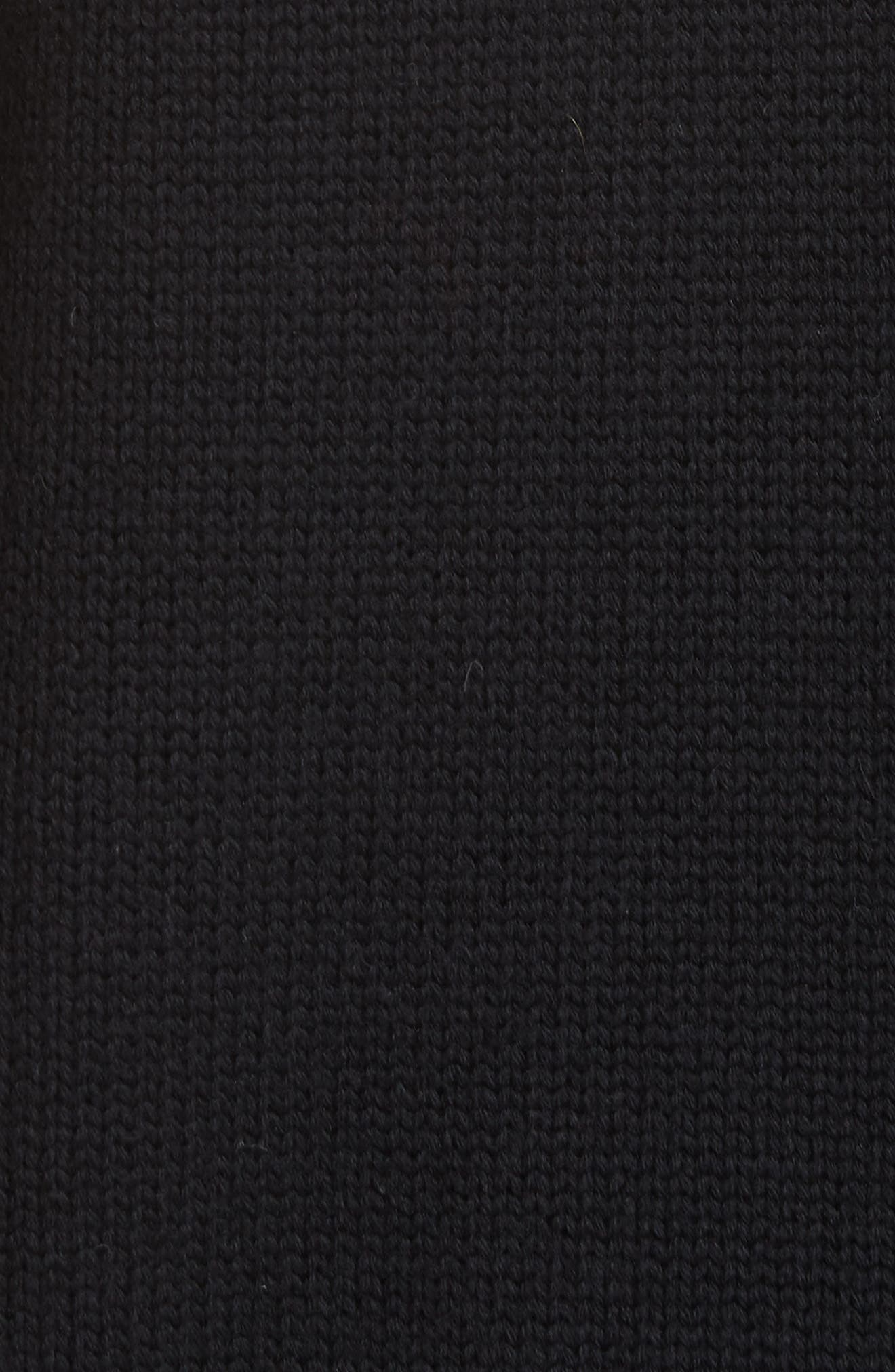 Zip Shoulder Merino Wool Sweater,                             Alternate thumbnail 6, color,                             BLACK