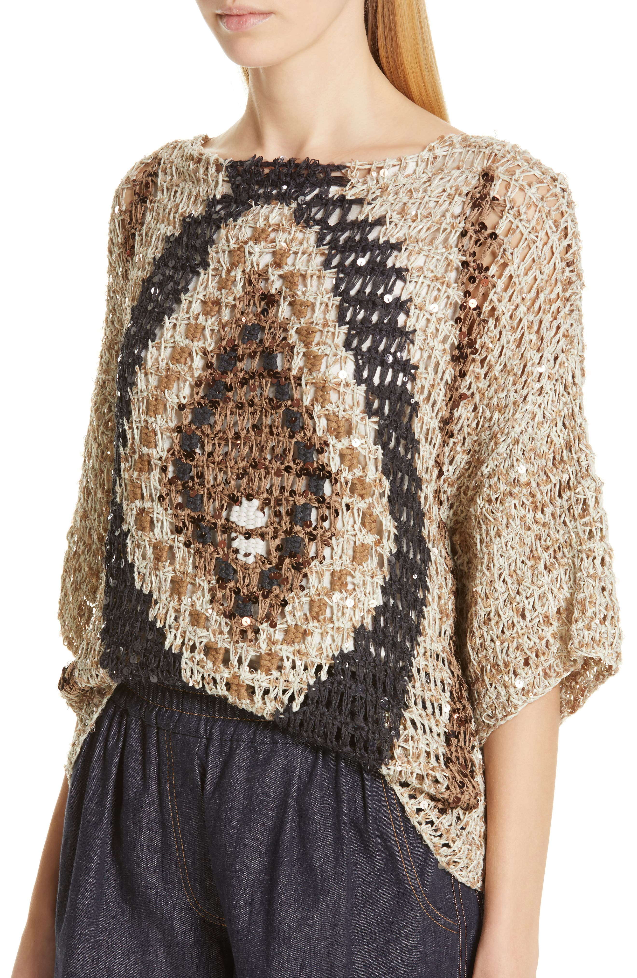 Sequin Open Knit Sweater,                             Alternate thumbnail 4, color,                             SUMMER BEIGE