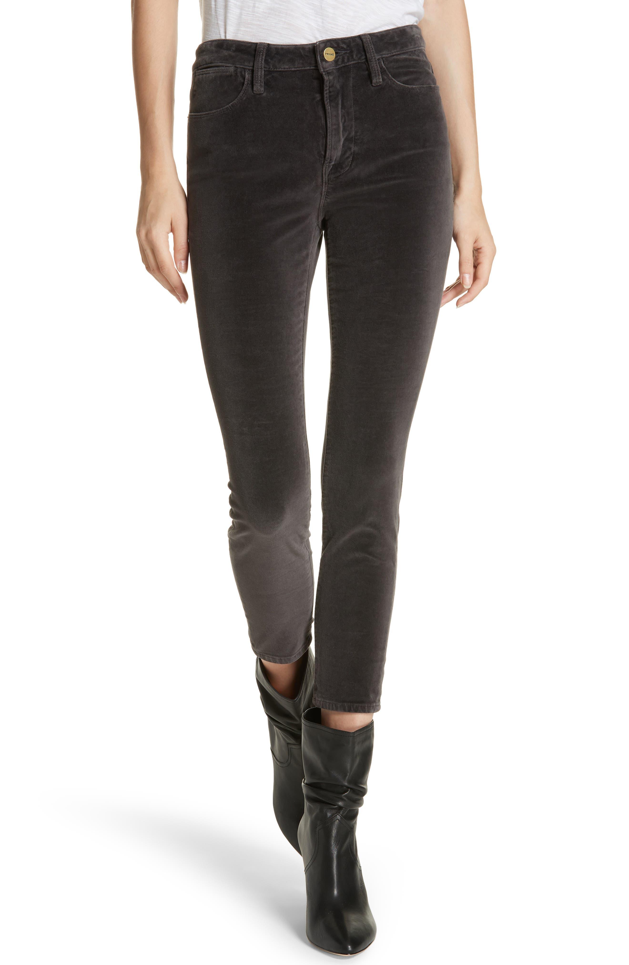 Velveteen High Waist Skinny Pants,                             Main thumbnail 1, color,