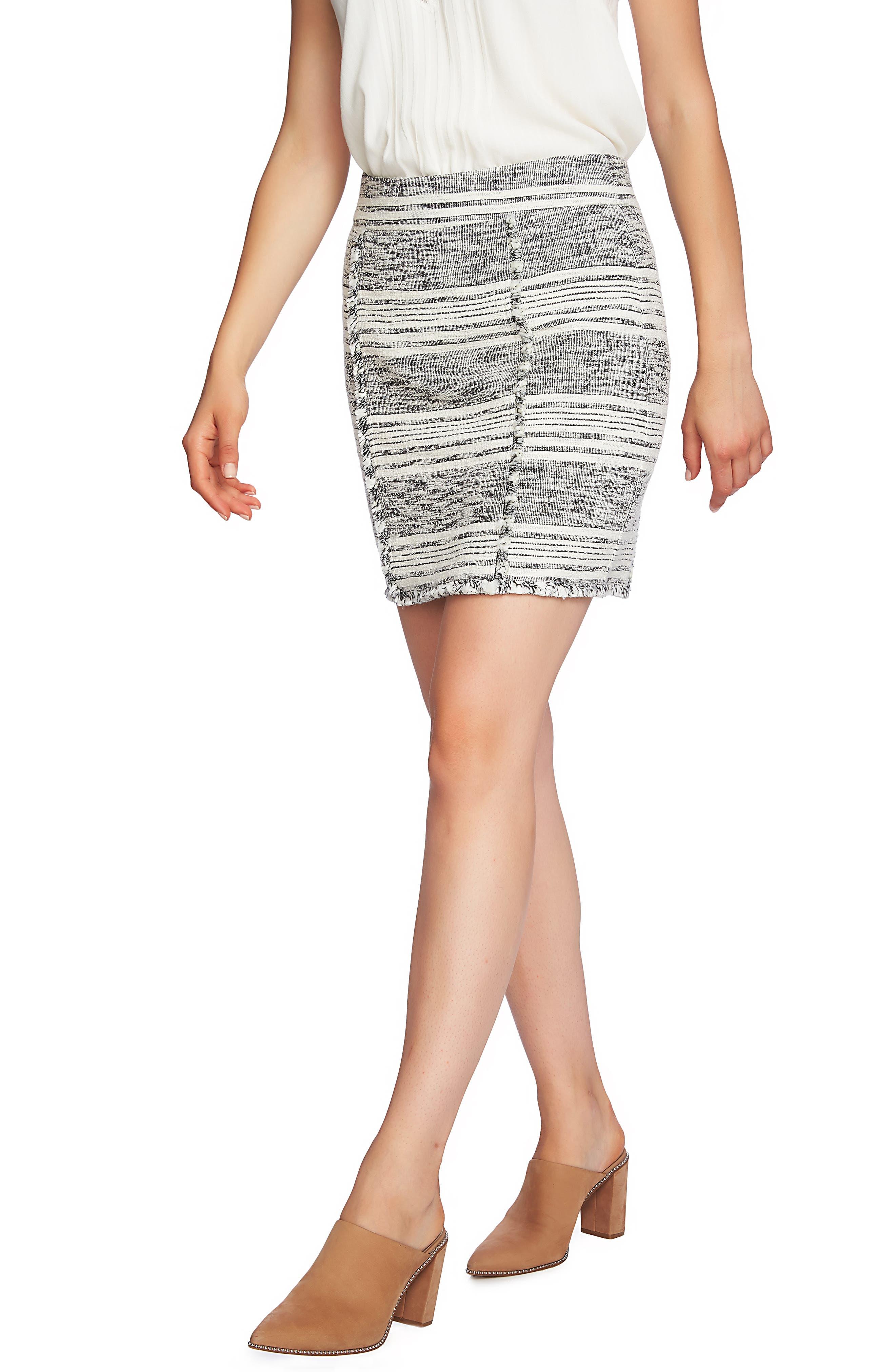 1.state Fringe Trim Tweed Pencil Skirt, Black