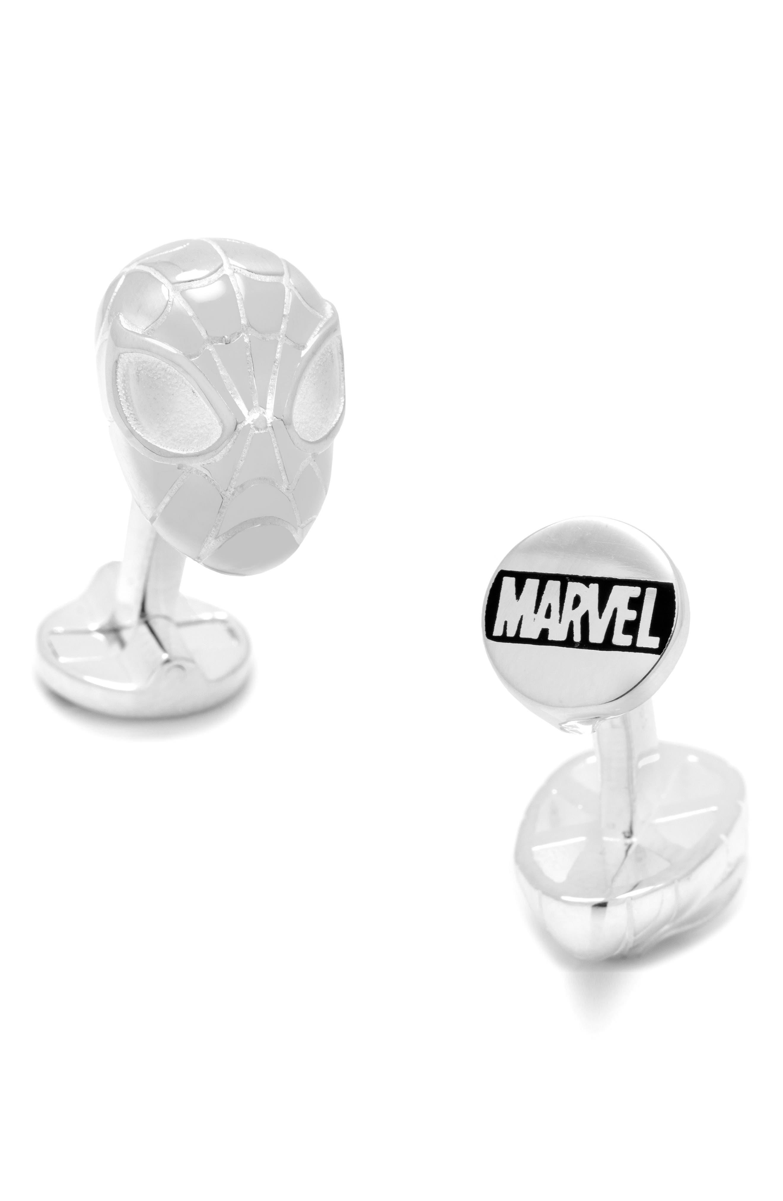 Spiderman Cuff Links,                         Main,                         color, SILVER