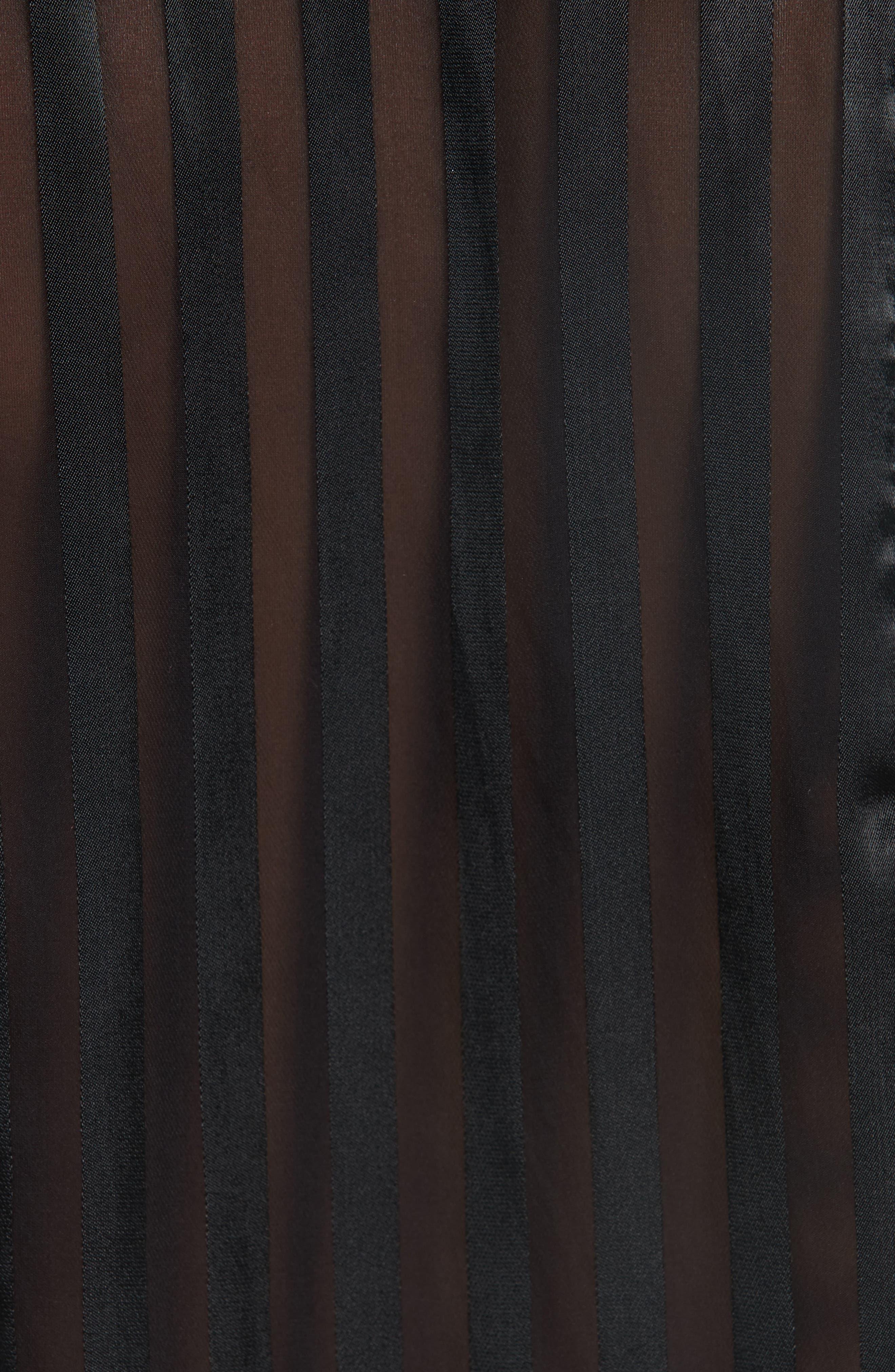 Tie Neck Shadow Stripe Blouse,                             Alternate thumbnail 5, color,                             SHADOW STRIPE BLACK