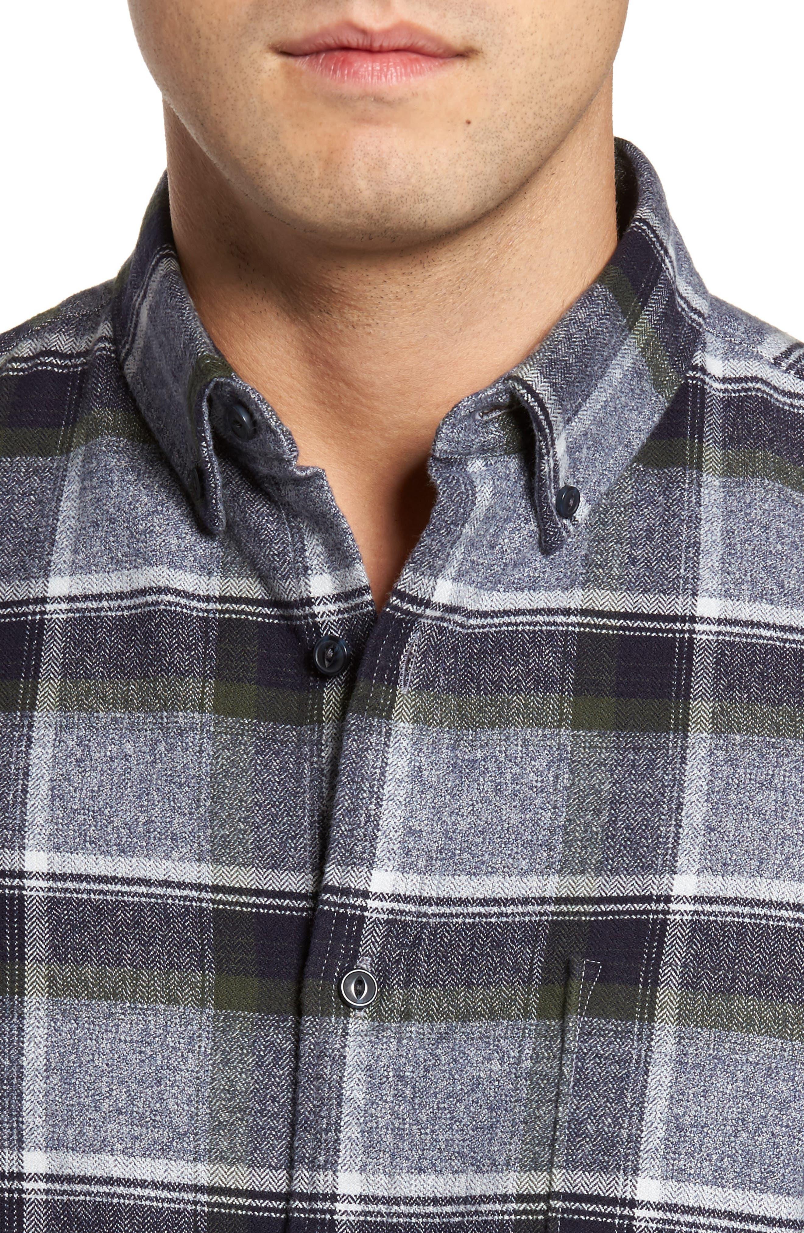 Regular Fit Plaid Flannel Shirt,                             Alternate thumbnail 4, color,