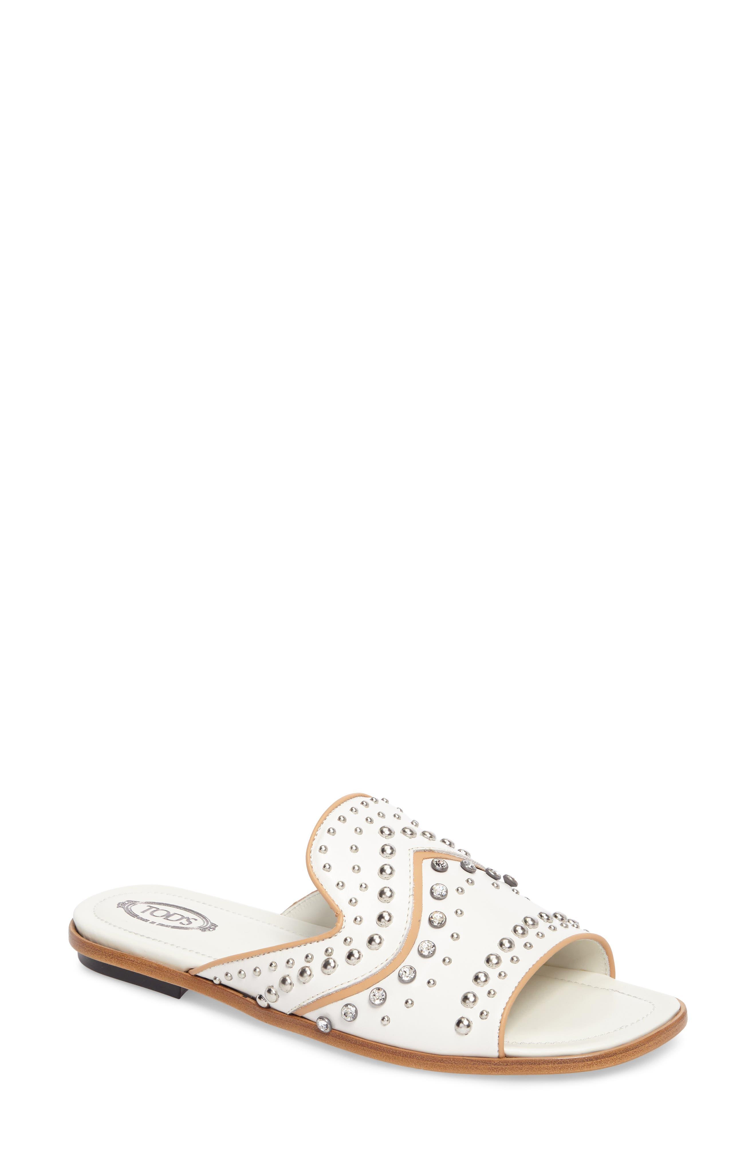 TOD'S Crystal Embellished Loafer Mule, Main, color, 100