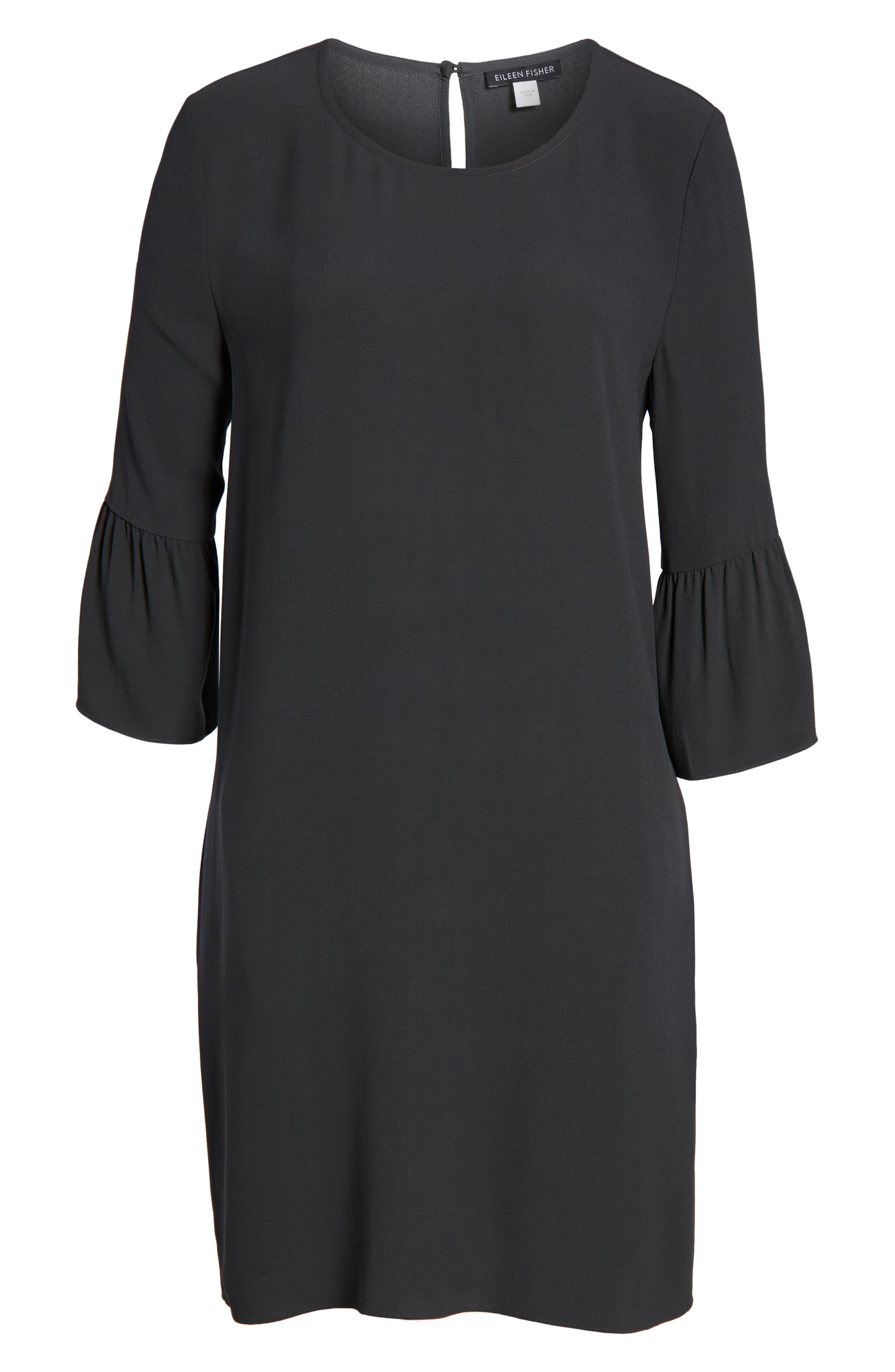 Flare Sleeve Silk Dress,                             Alternate thumbnail 6, color,                             025