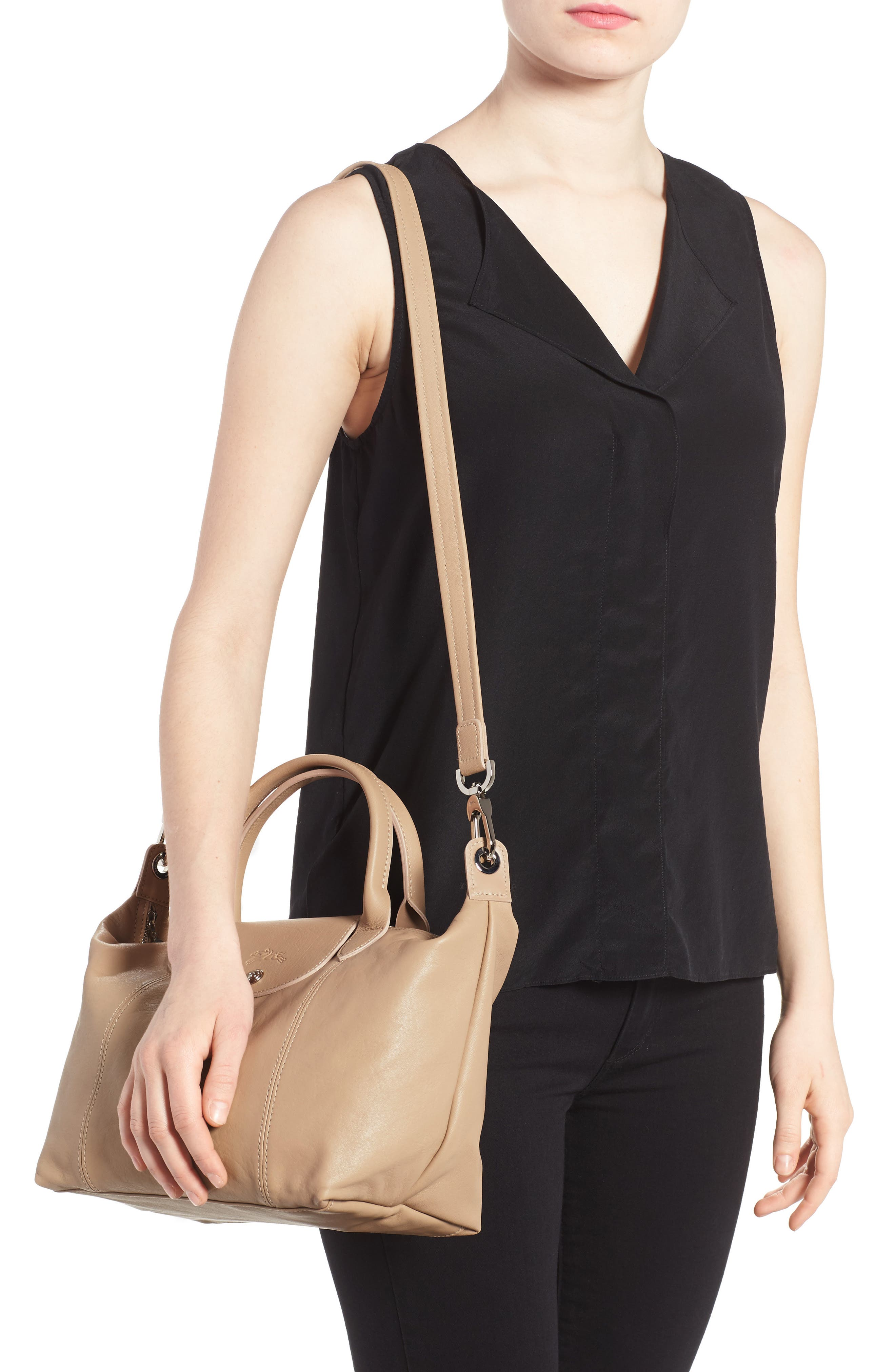 Small 'Le Pliage Cuir' Leather Top Handle Tote,                             Alternate thumbnail 32, color,