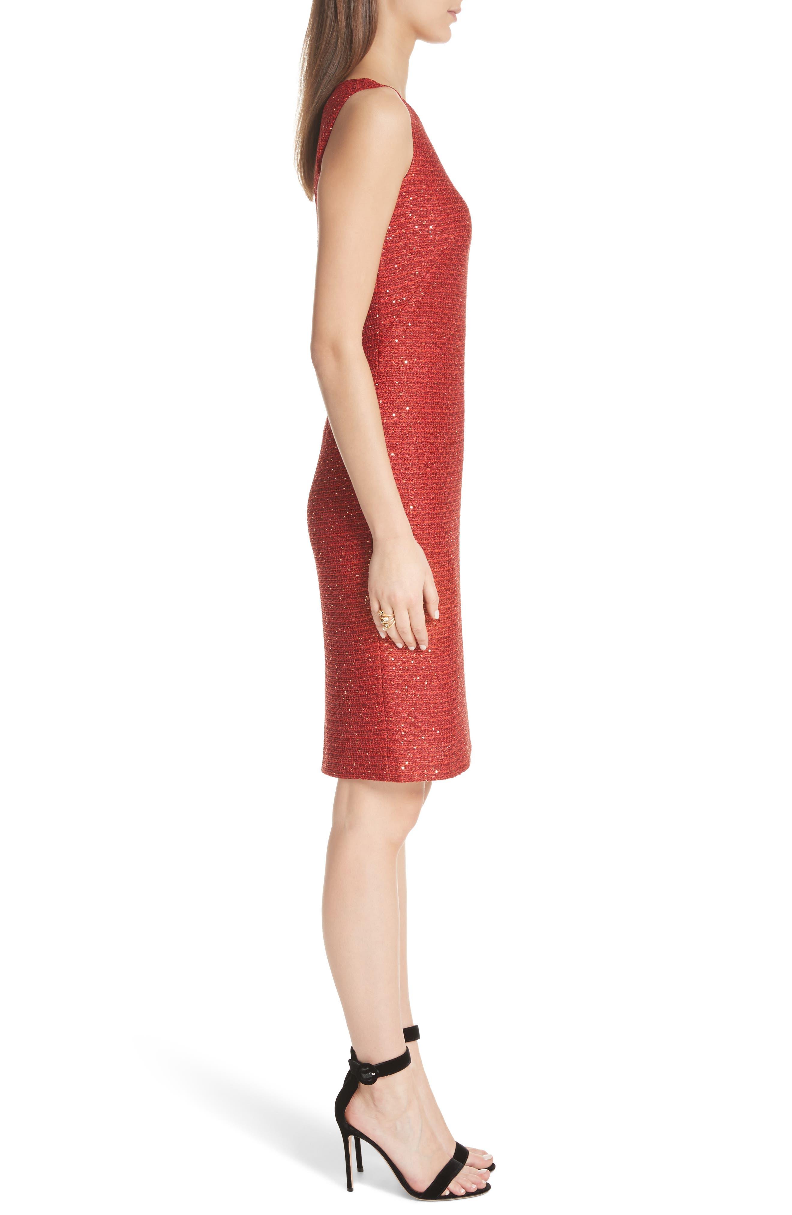 Glamour Sequin Knit Sheath Dress,                             Alternate thumbnail 3, color,                             SIENNA MULTI