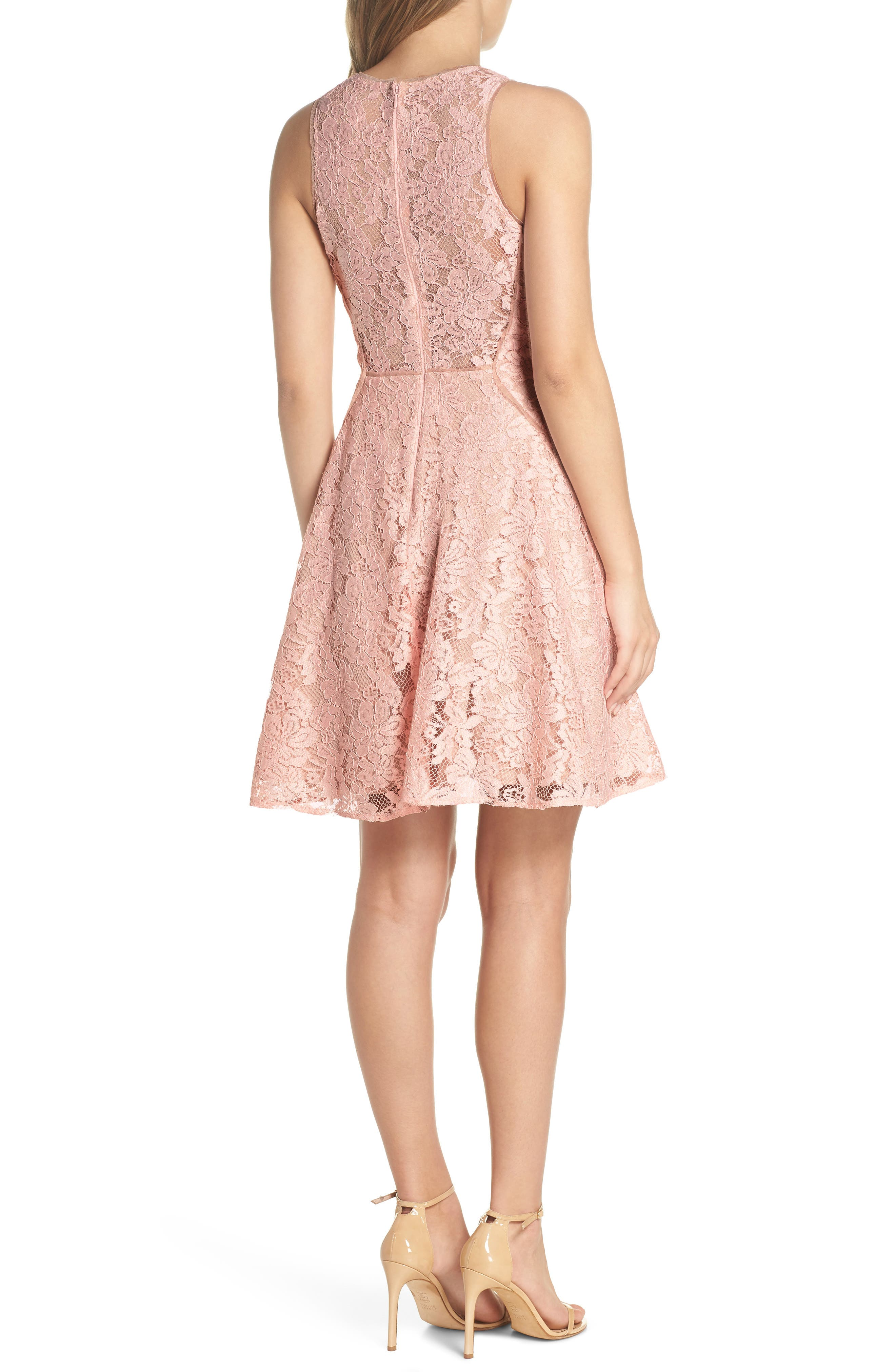 Lace Fit & Flare Dress,                             Alternate thumbnail 2, color,                             682