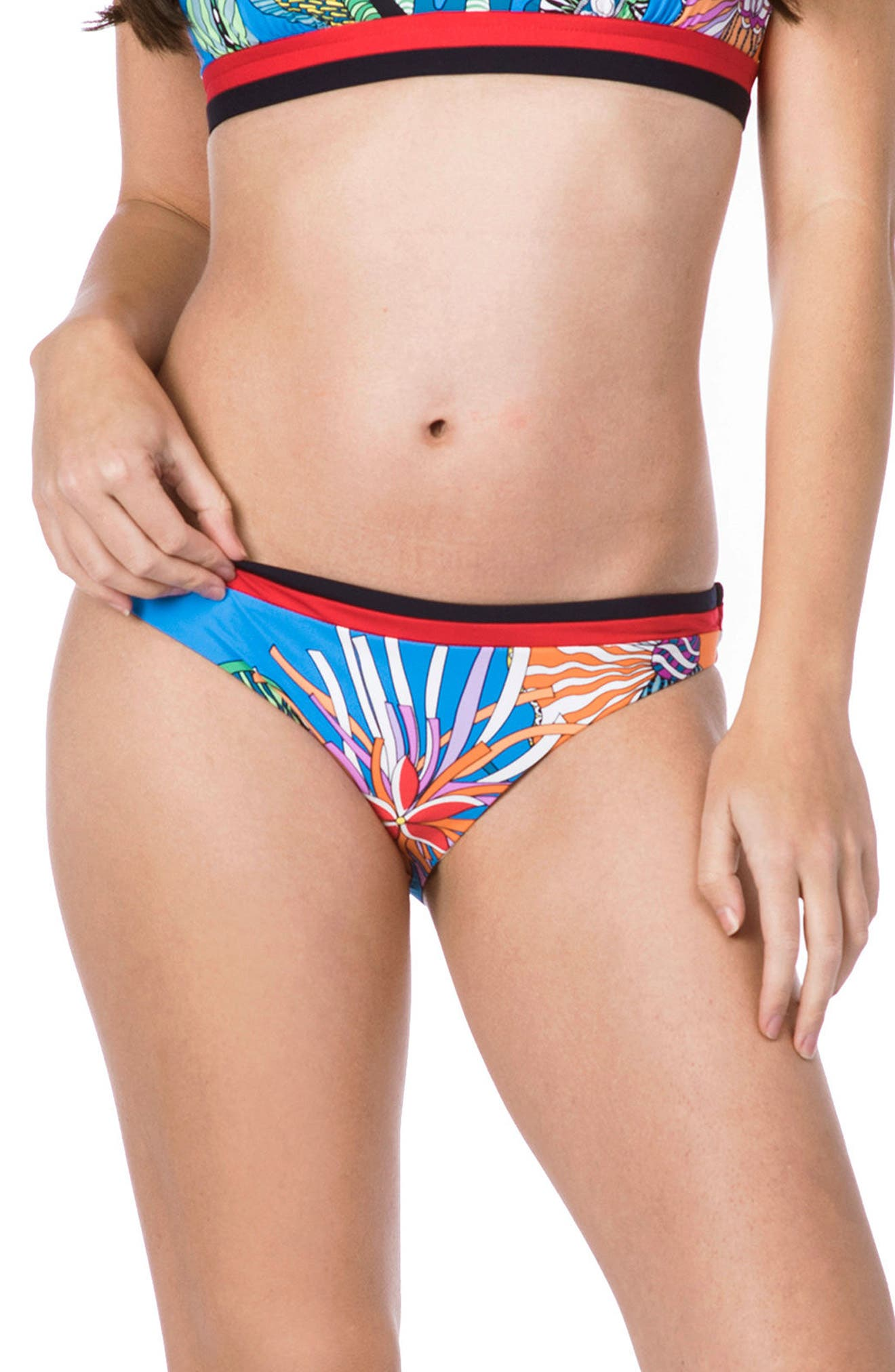 Tahiti Tropical Hipster Bikini Bottoms,                             Main thumbnail 1, color,                             BLUE MULTI