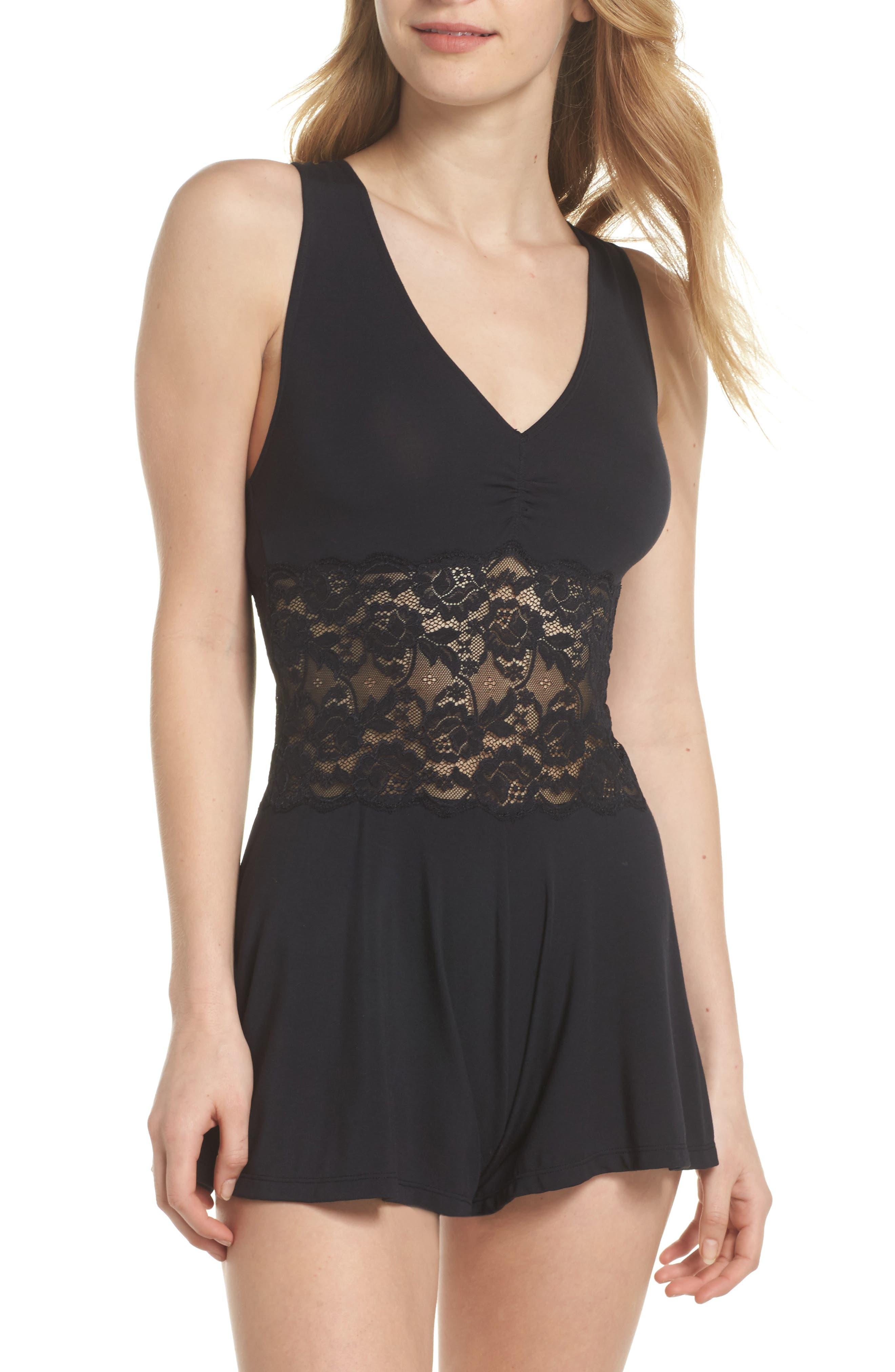 Jessica Lace Corset Romper, Main, color, 002
