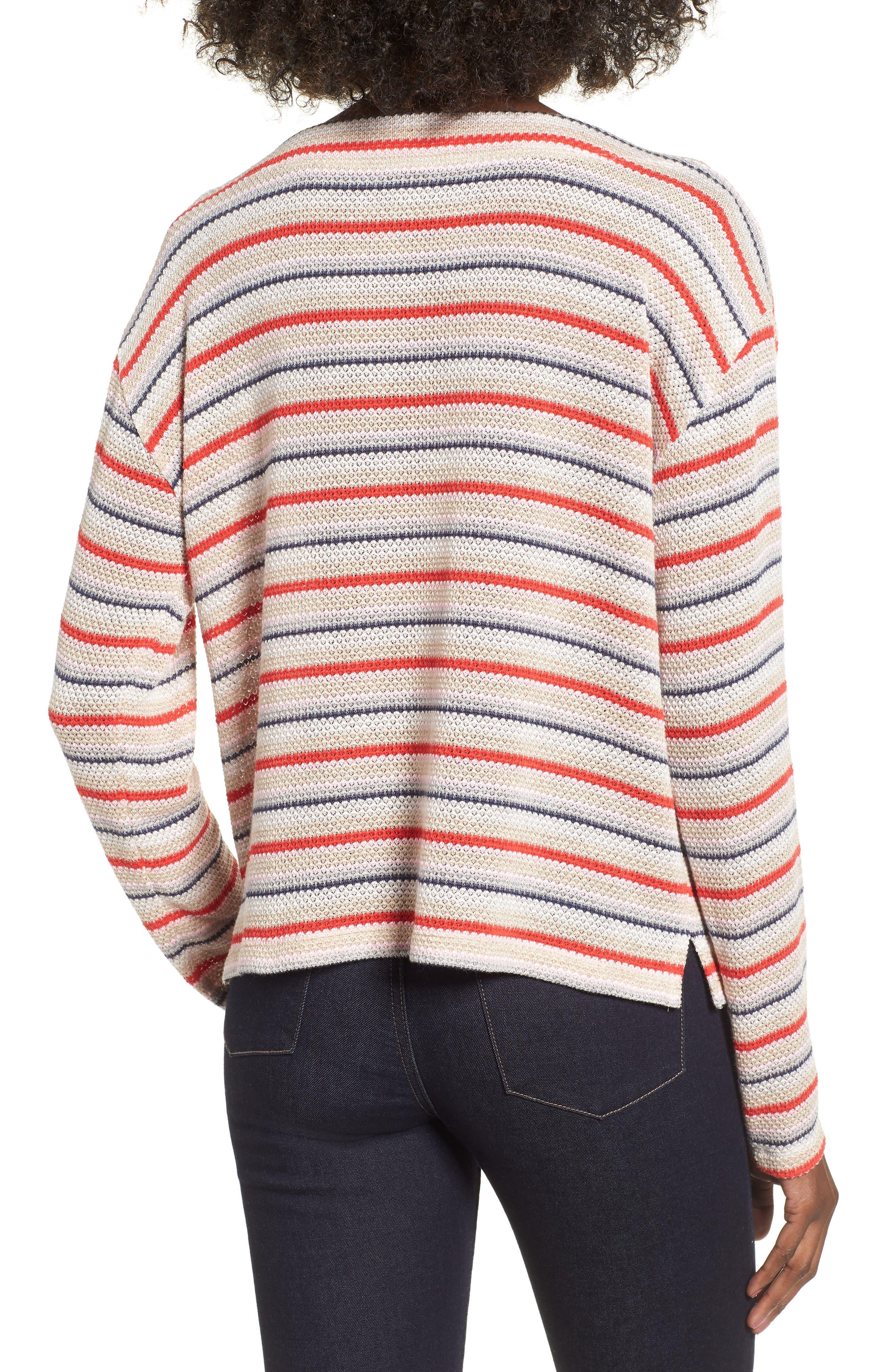 Stripe Knit Tee,                             Alternate thumbnail 2, color,                             RAINBOW