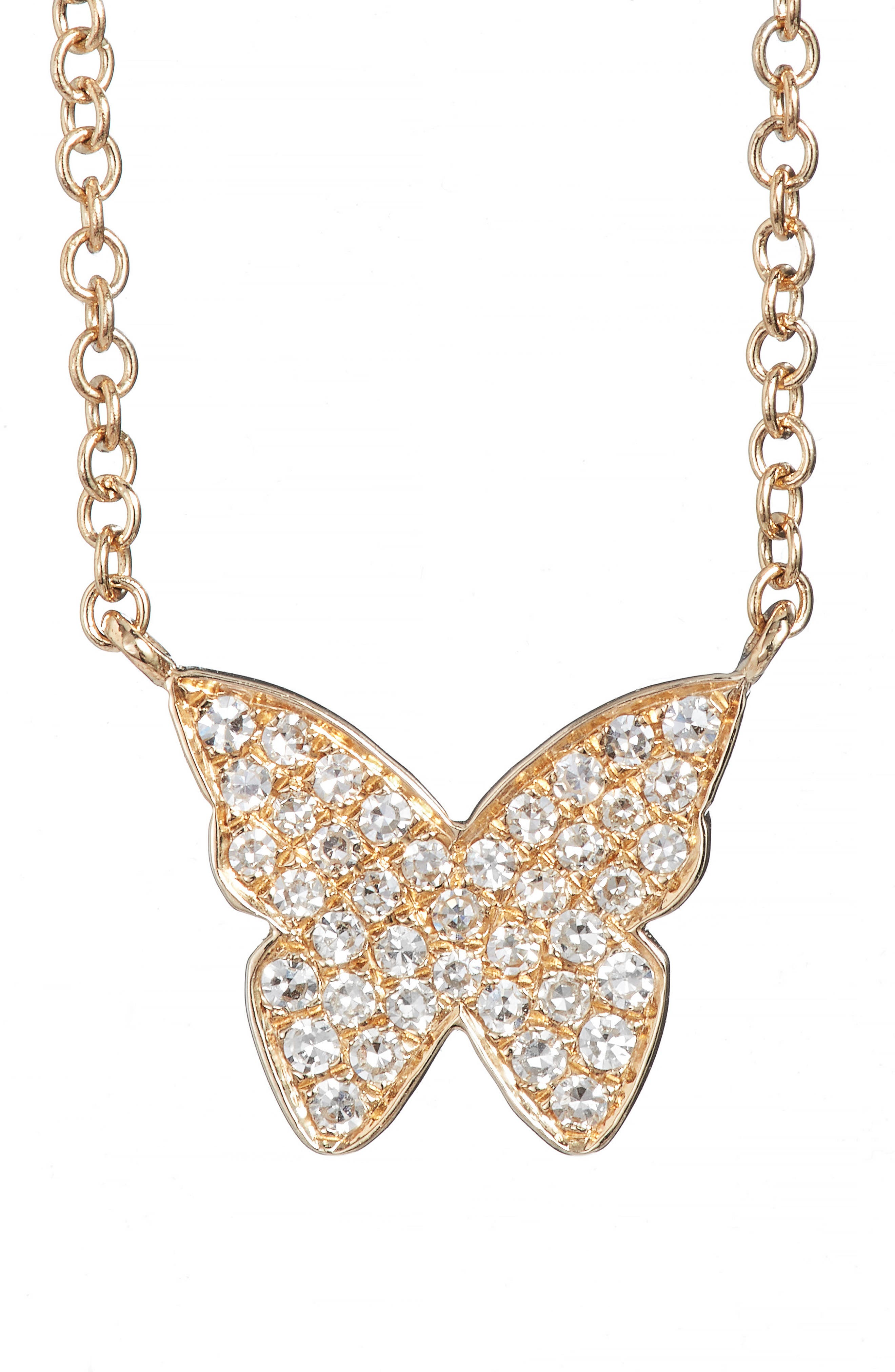 Diamond Butterfly Pendant Necklace,                             Main thumbnail 1, color,                             YELLOW GOLD