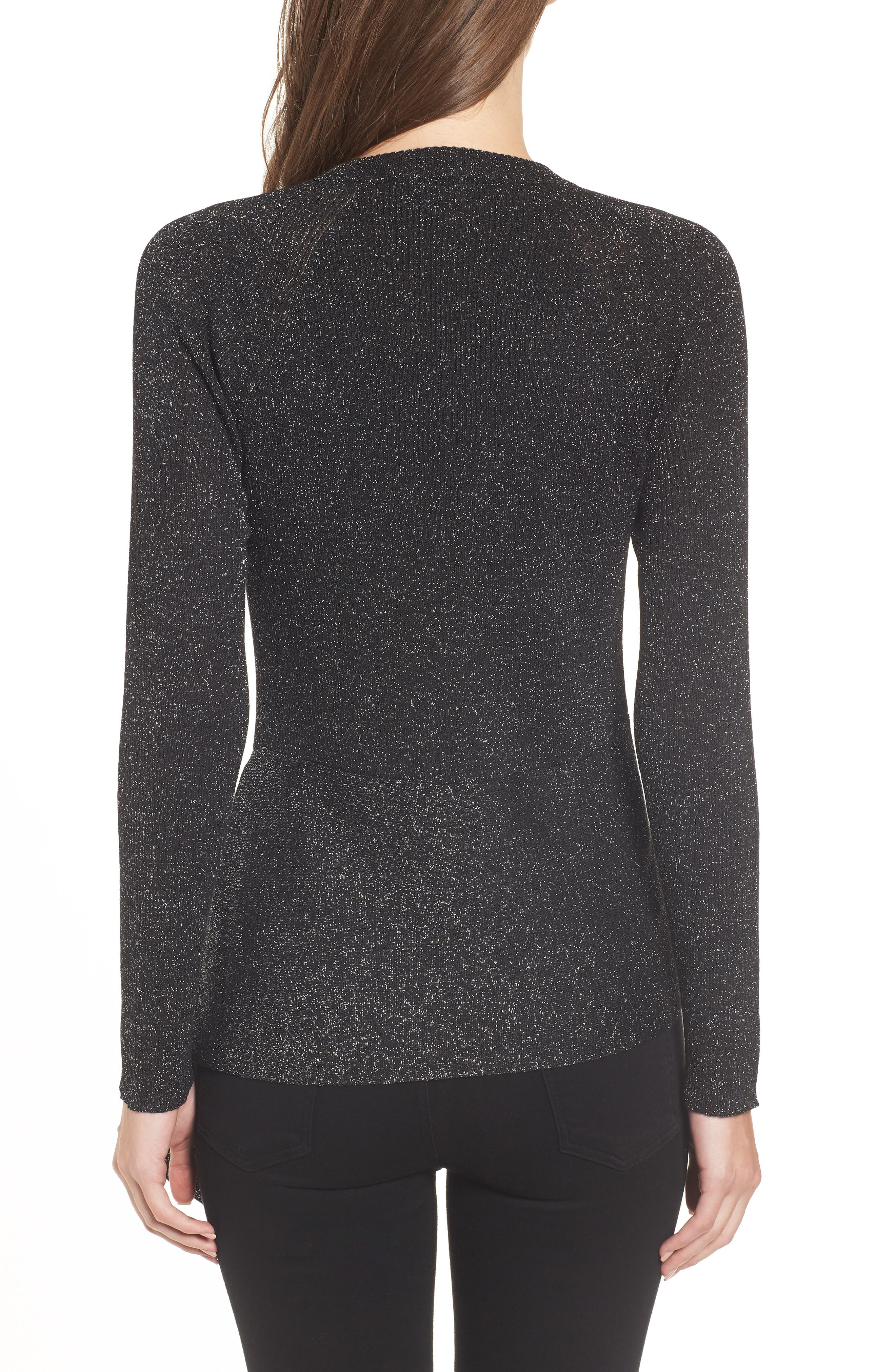 Drape Waist Sweater,                             Alternate thumbnail 2, color,                             BLACK- SILVER SPANGLE METALLIC