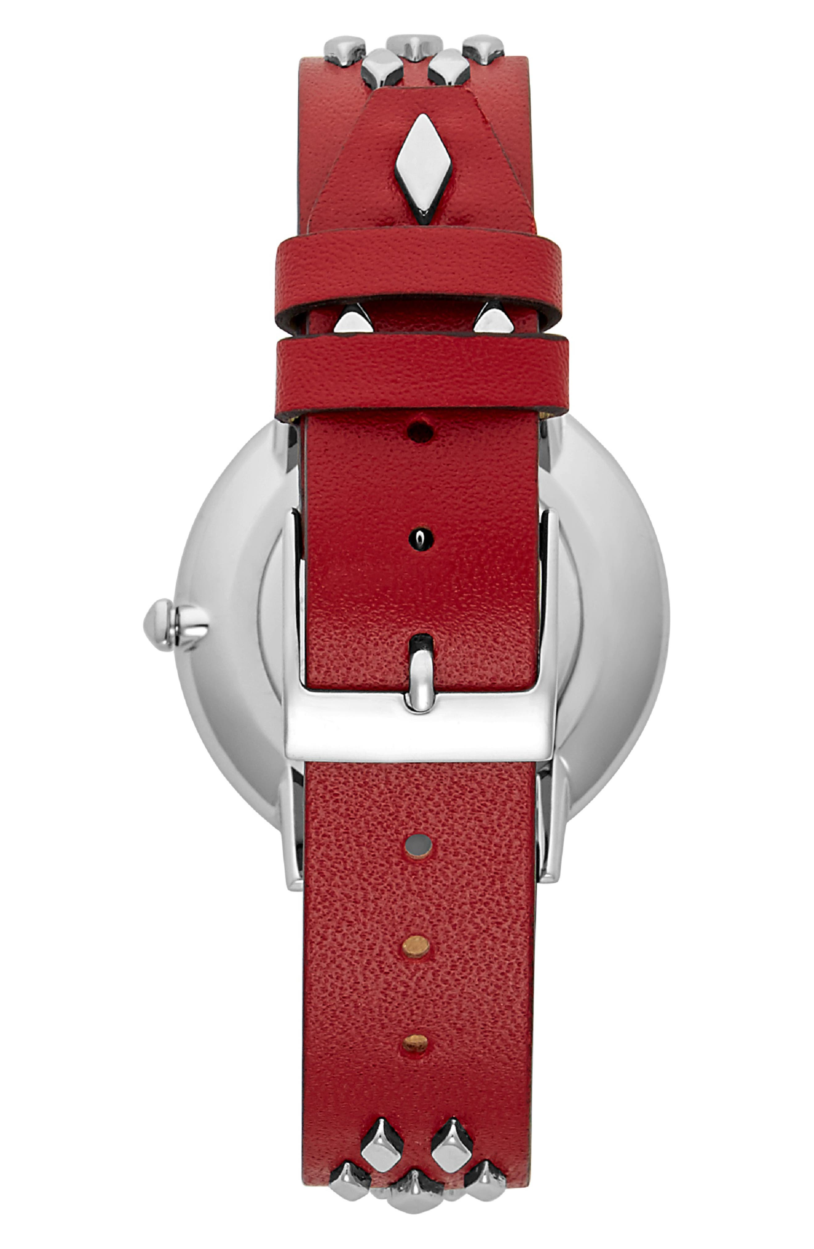 Major Studded Leather Strap Watch, 35mm,                             Alternate thumbnail 2, color,                             SCARLET/ SILVER
