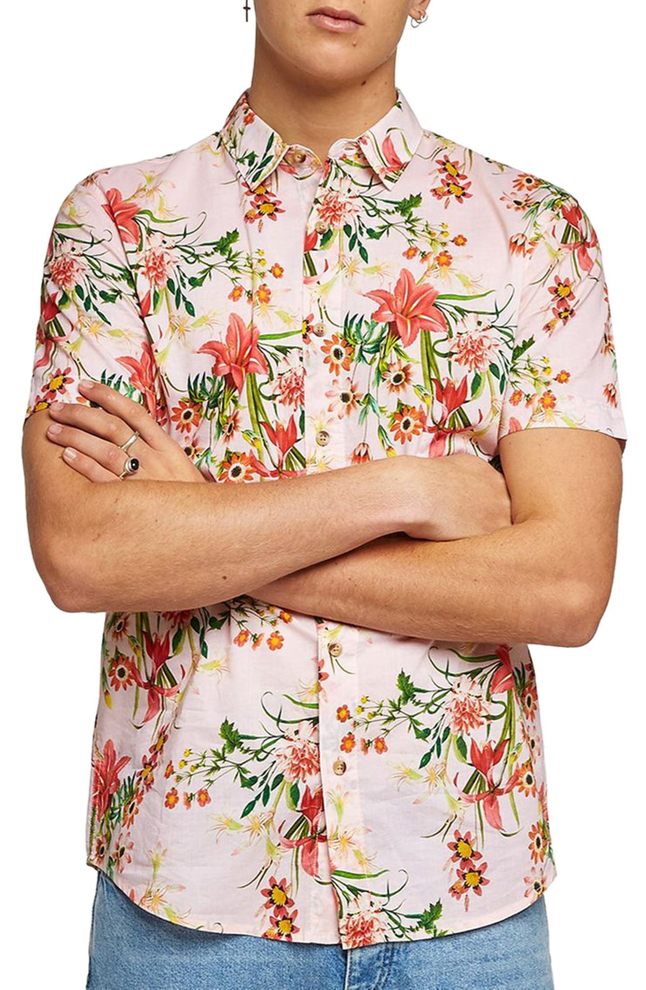 Classic Fit Floral Woven Shirt,                             Main thumbnail 1, color,                             650