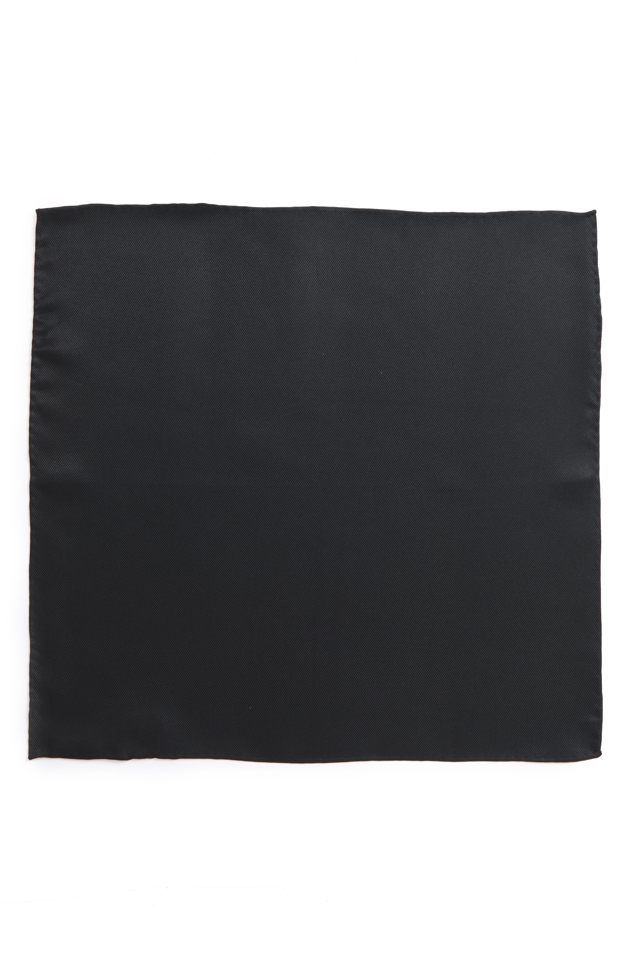 Solid Silk Pocket Square,                             Alternate thumbnail 2, color,                             001