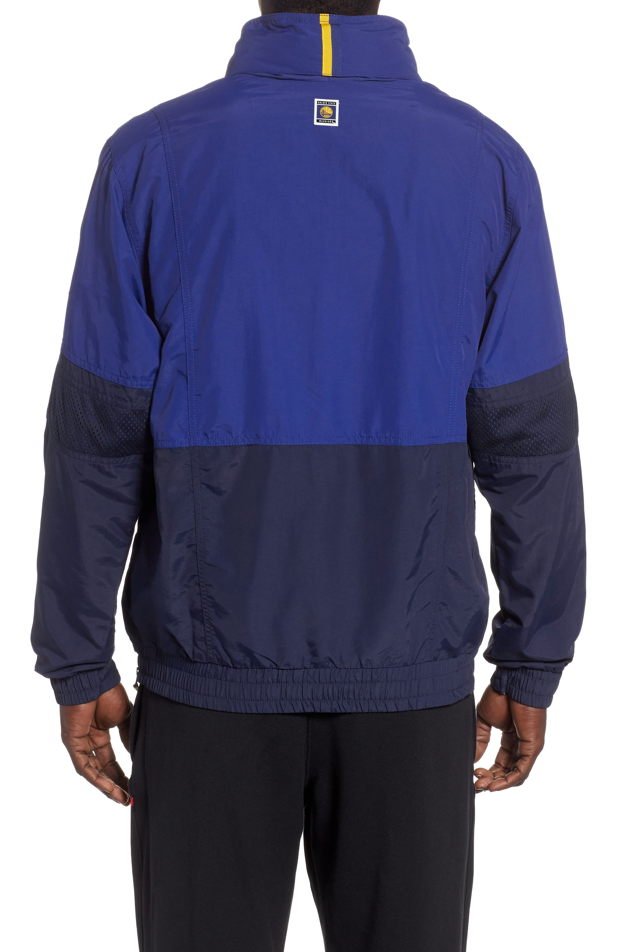 Golden State Warriors Courtside Warm-Up Jacket,                             Alternate thumbnail 2, color,                             RUSH BLUE/ NAVY/ AMARILLO