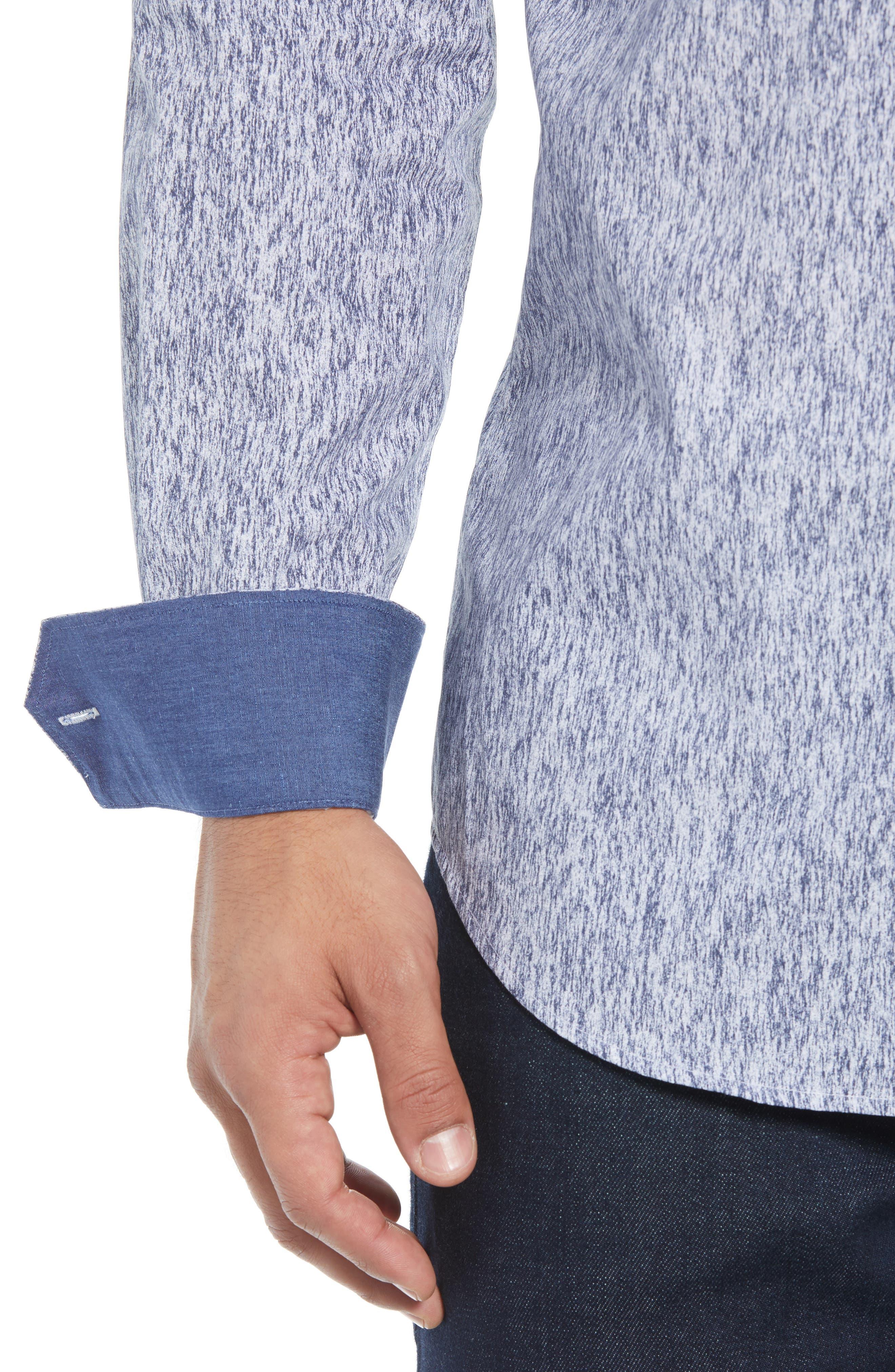 Shaped Fit Print Sport Shirt,                             Alternate thumbnail 2, color,                             COBALT