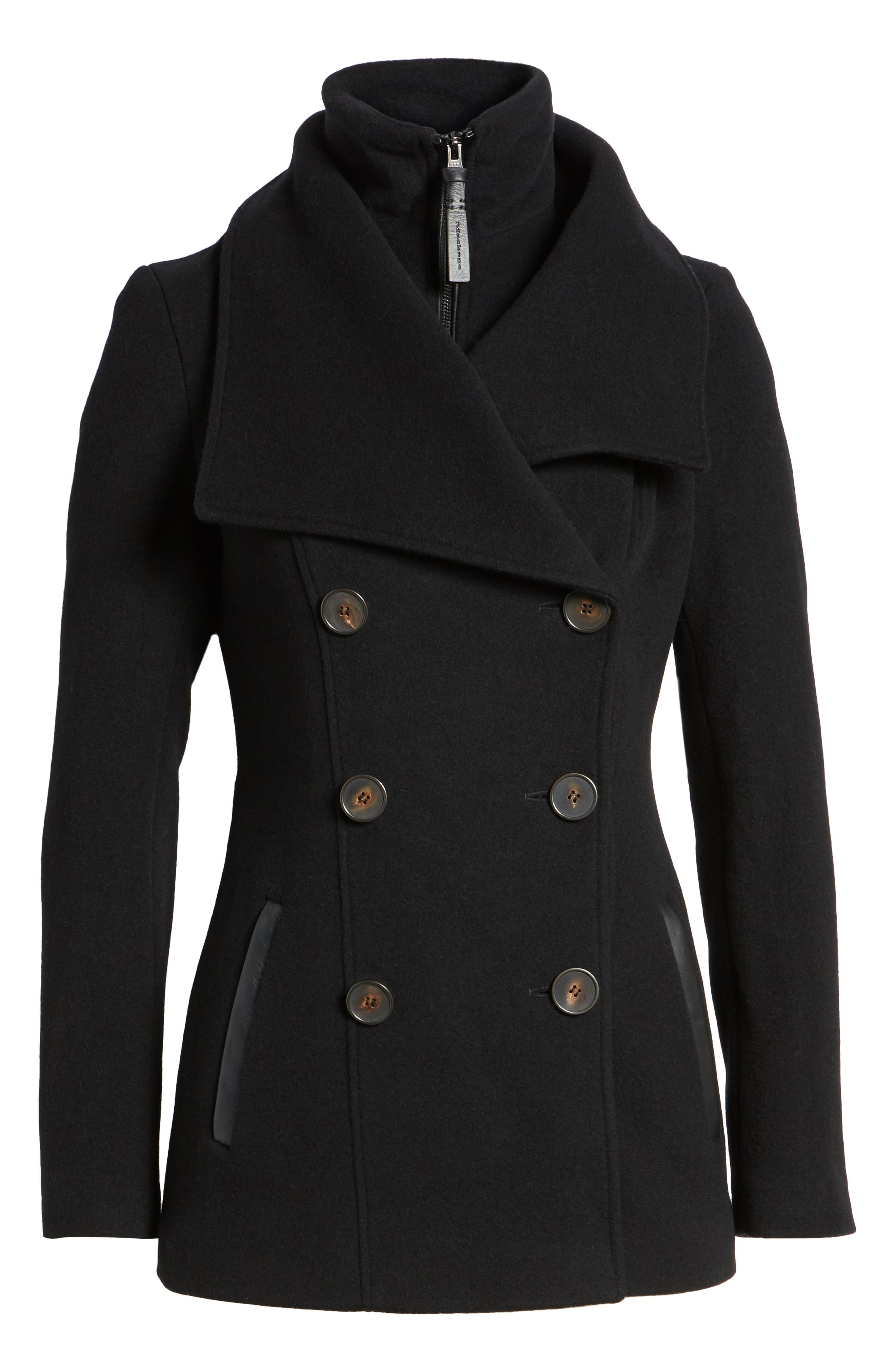 Norissa Double-Breasted Wool Blend Peacoat,                             Alternate thumbnail 5, color,                             001