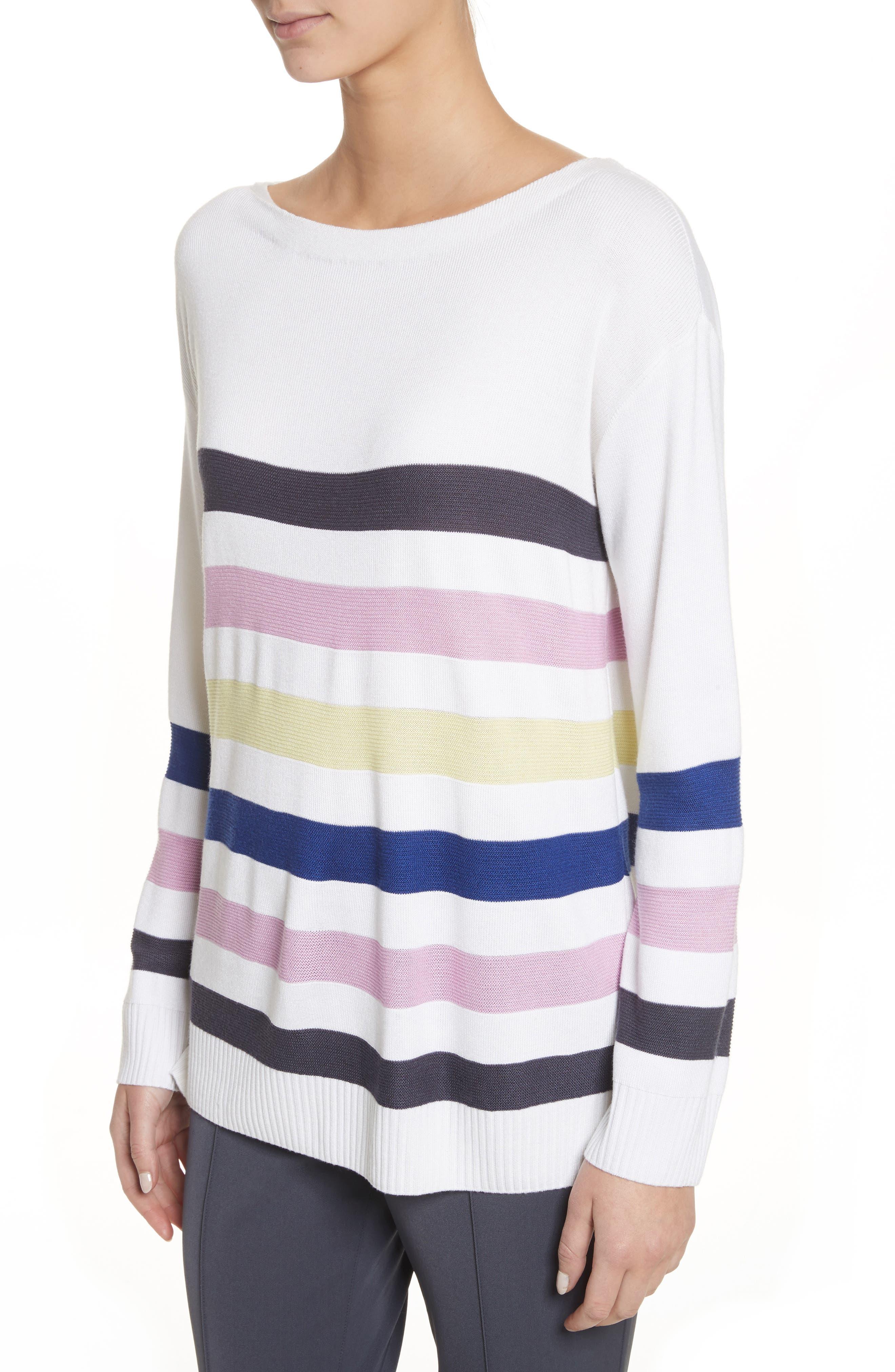 Links Stripe Knit Sweater,                             Alternate thumbnail 4, color,                             100