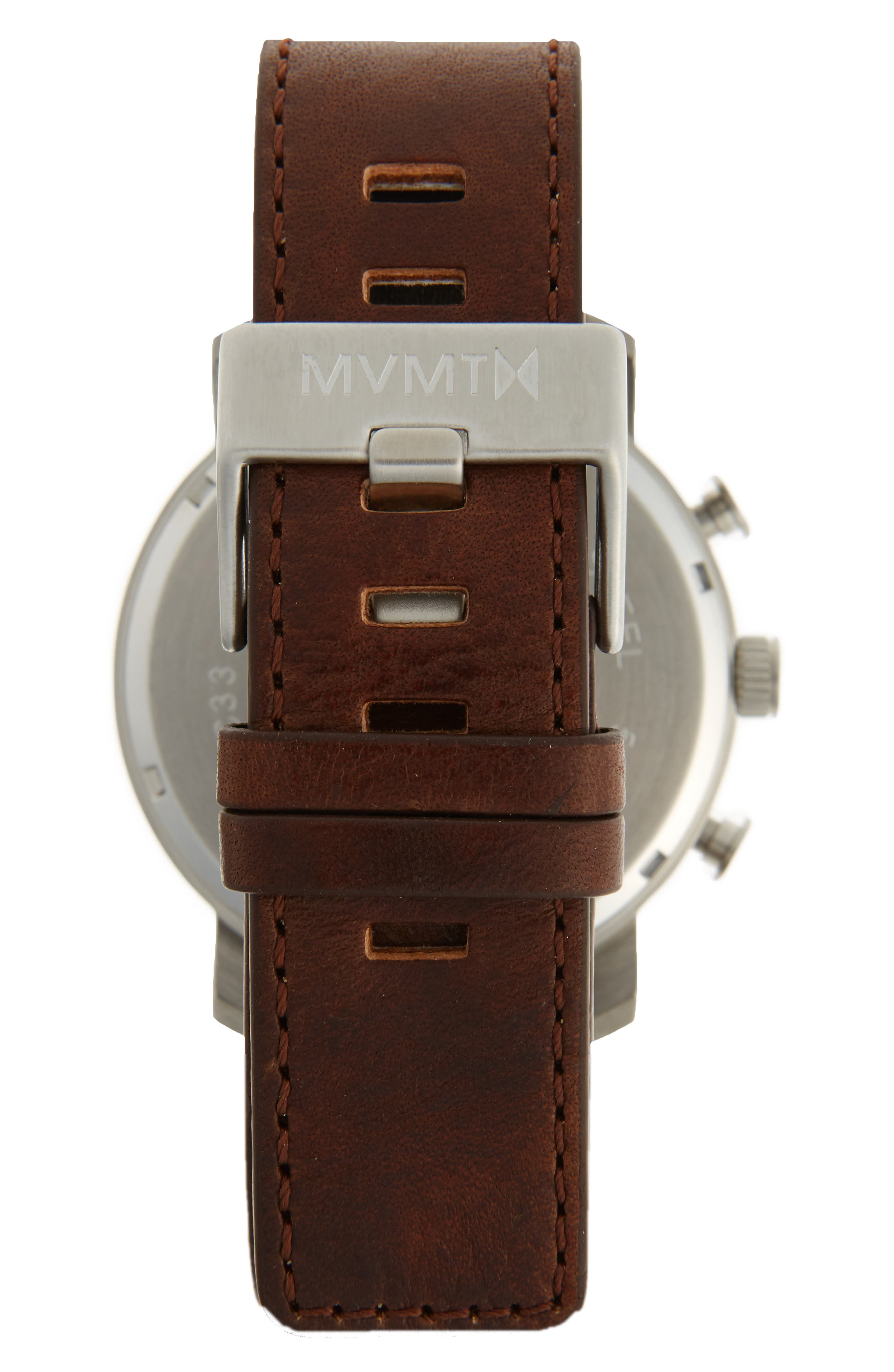 Chronograph Leather Strap Watch, 45mm,                             Alternate thumbnail 2, color,