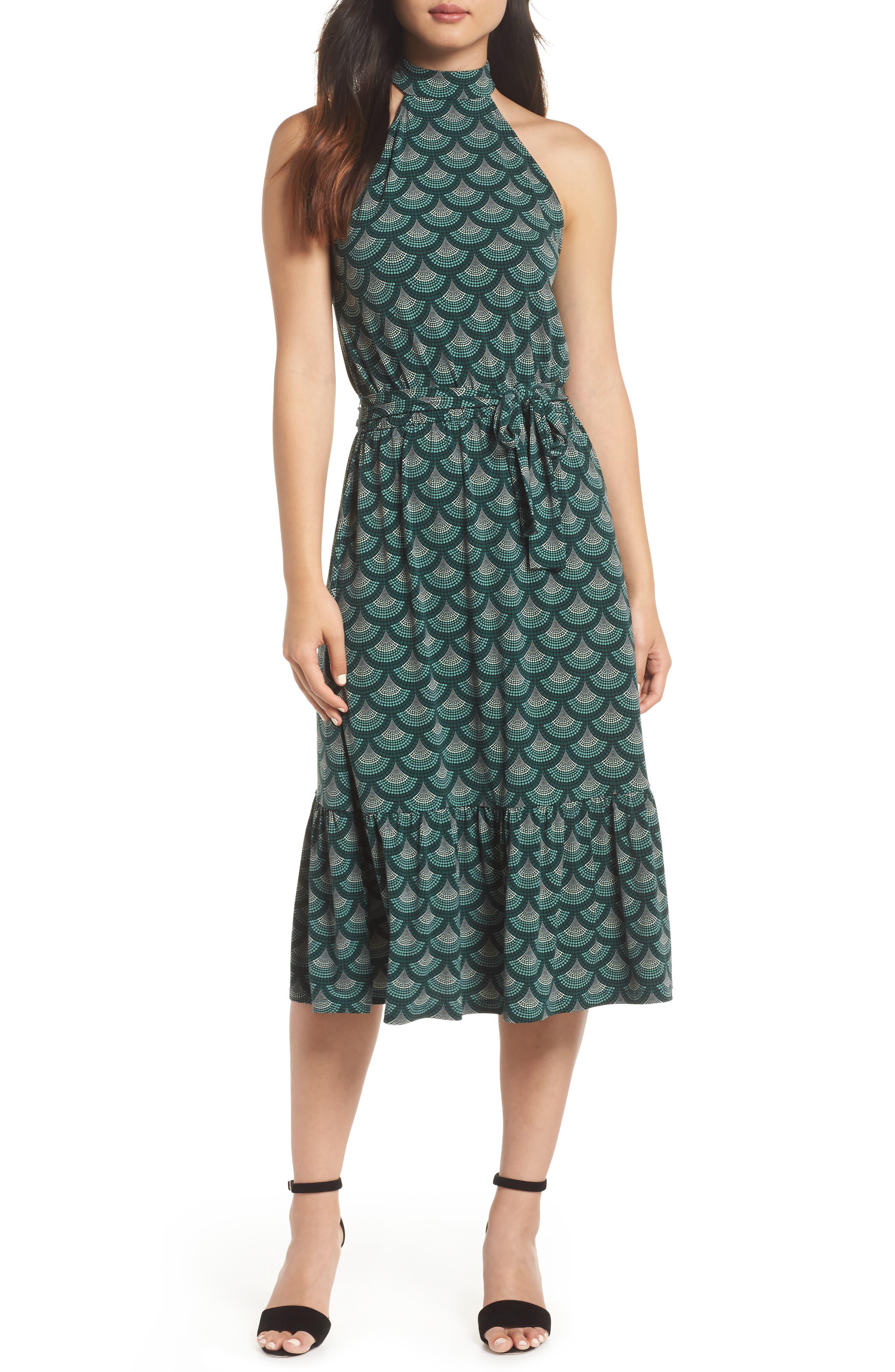 Michael Michael Kors Print Halter Midi Dress, Green