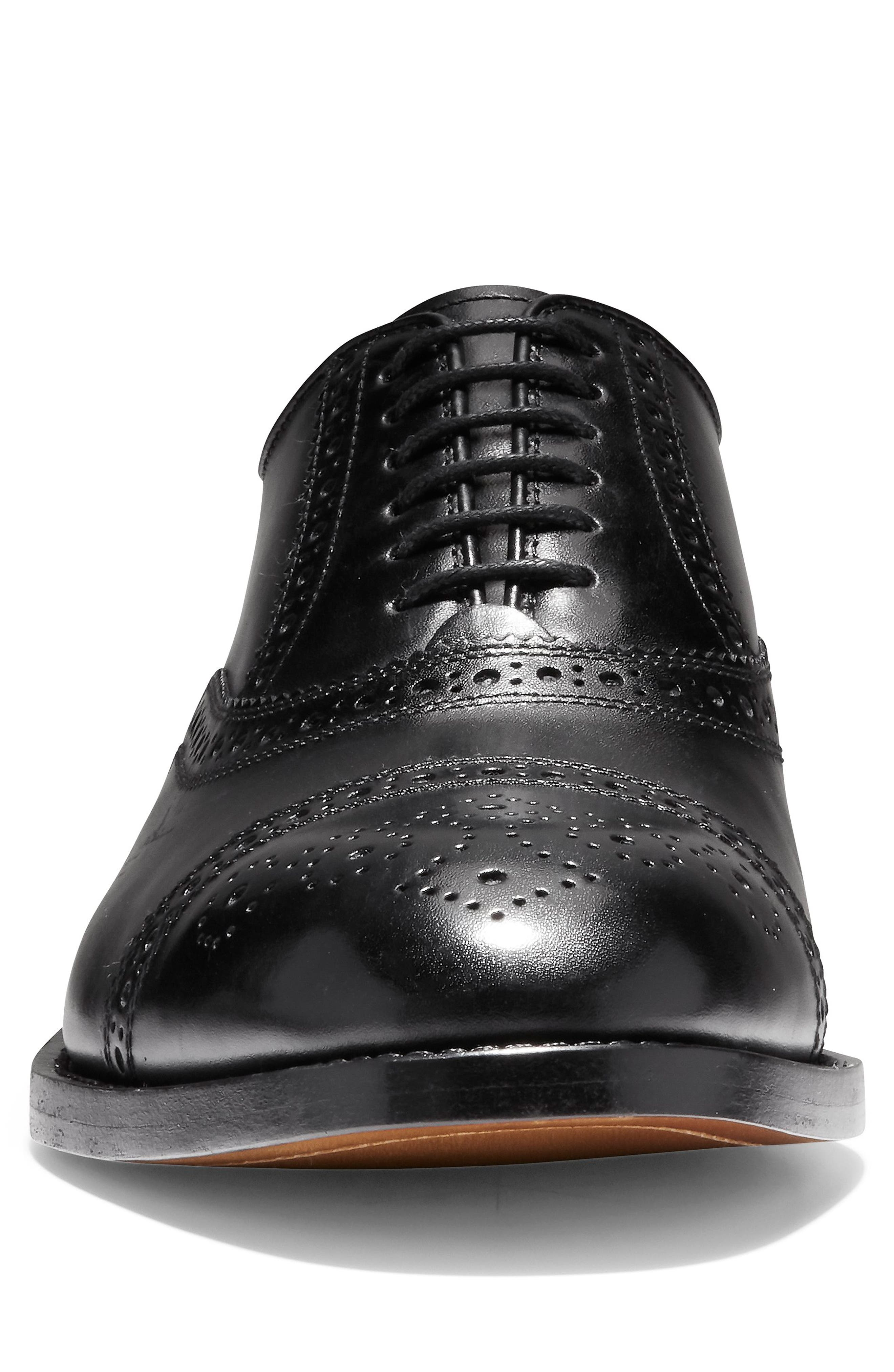 American Classics Kneeland Cap Toe Oxford,                             Alternate thumbnail 4, color,                             BLACK LEATHER