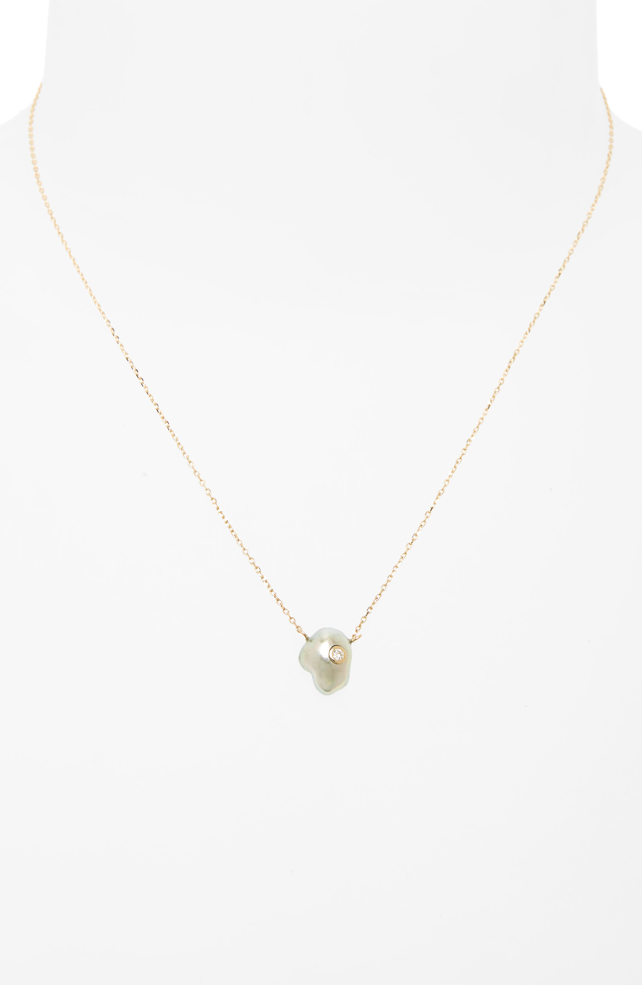 Sea of Beauty Pearl & Diamond Pendant Necklace,                             Alternate thumbnail 2, color,                             YELLOW GOLD/ GREY PEARL