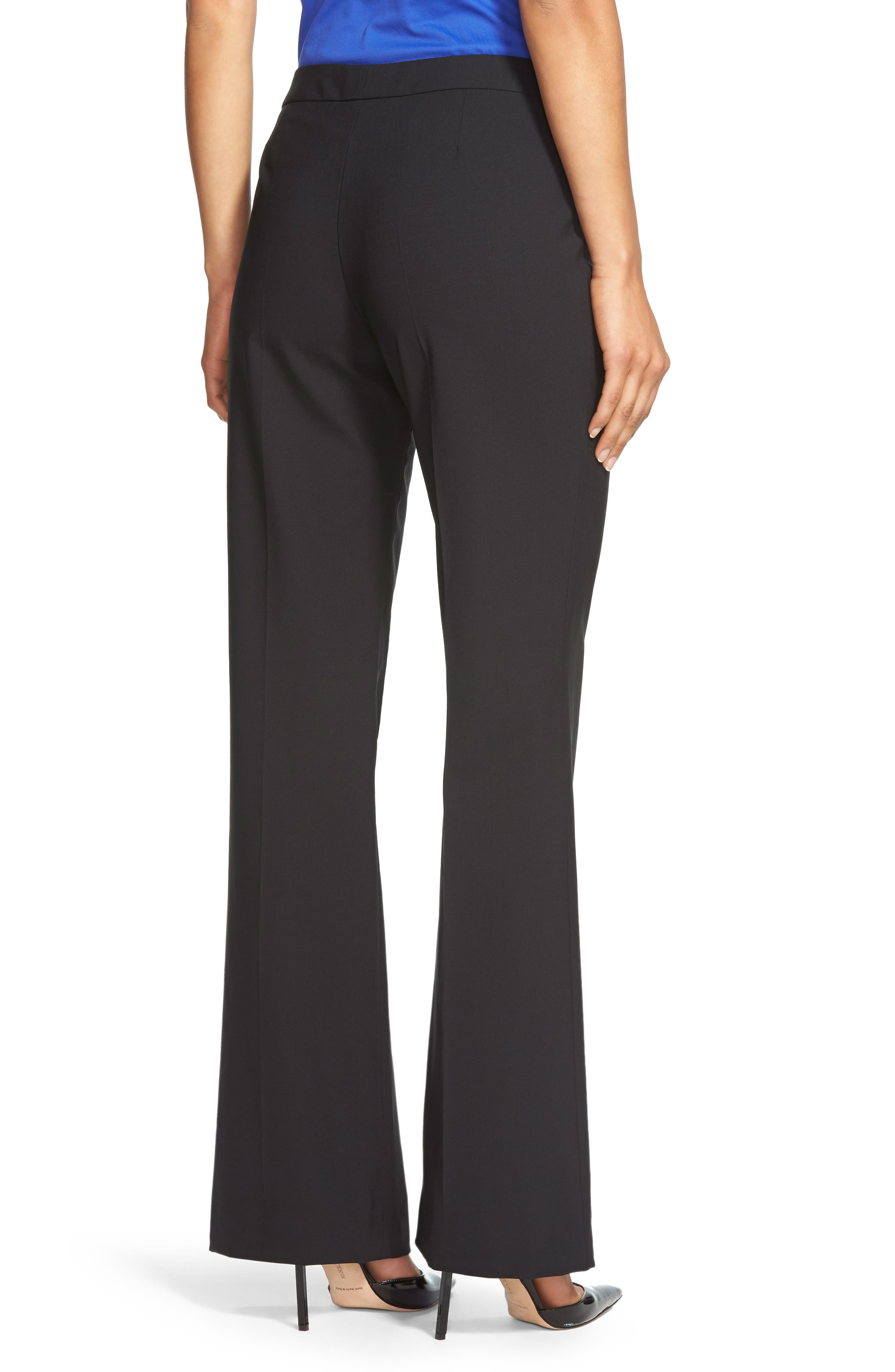 Tulea Side Zip Tropical Stretch Wool Trousers,                             Alternate thumbnail 2, color,                             BLACK