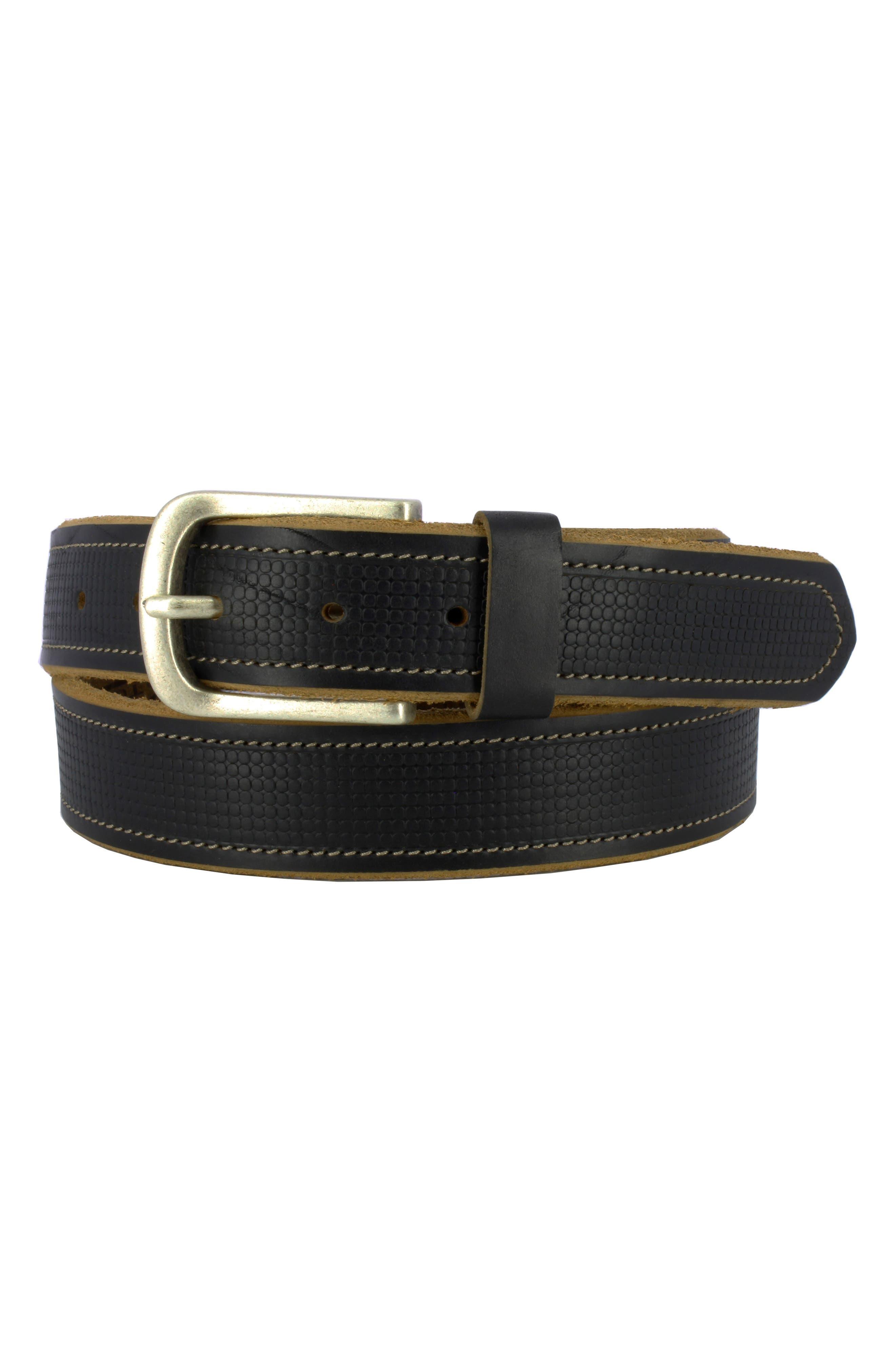 Sixx 2 Horween Leather Belt,                             Main thumbnail 1, color,                             BLACK