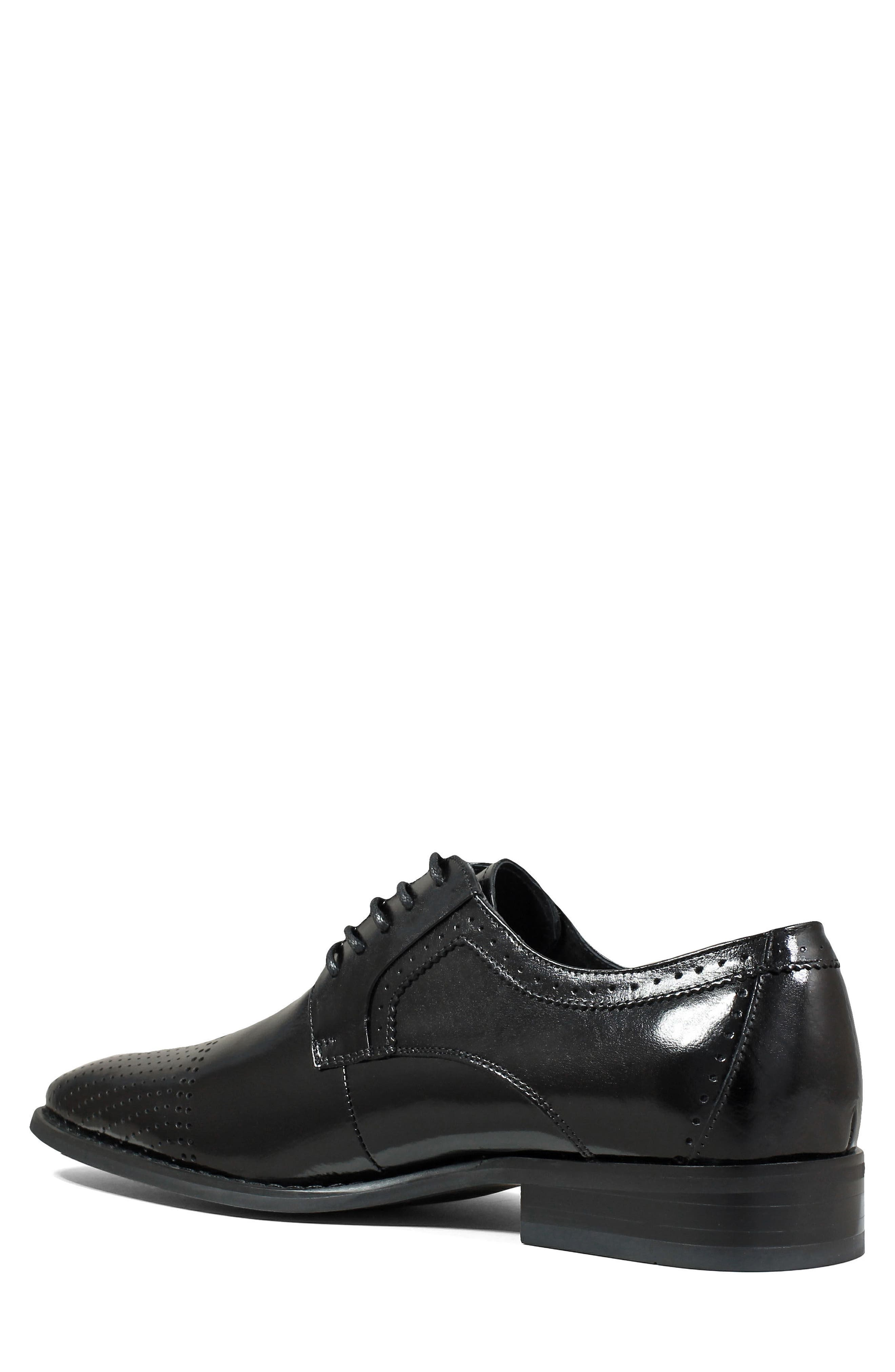 Sanborn Perforated Cap Toe Derby,                             Alternate thumbnail 2, color,                             BLACK LEATHER