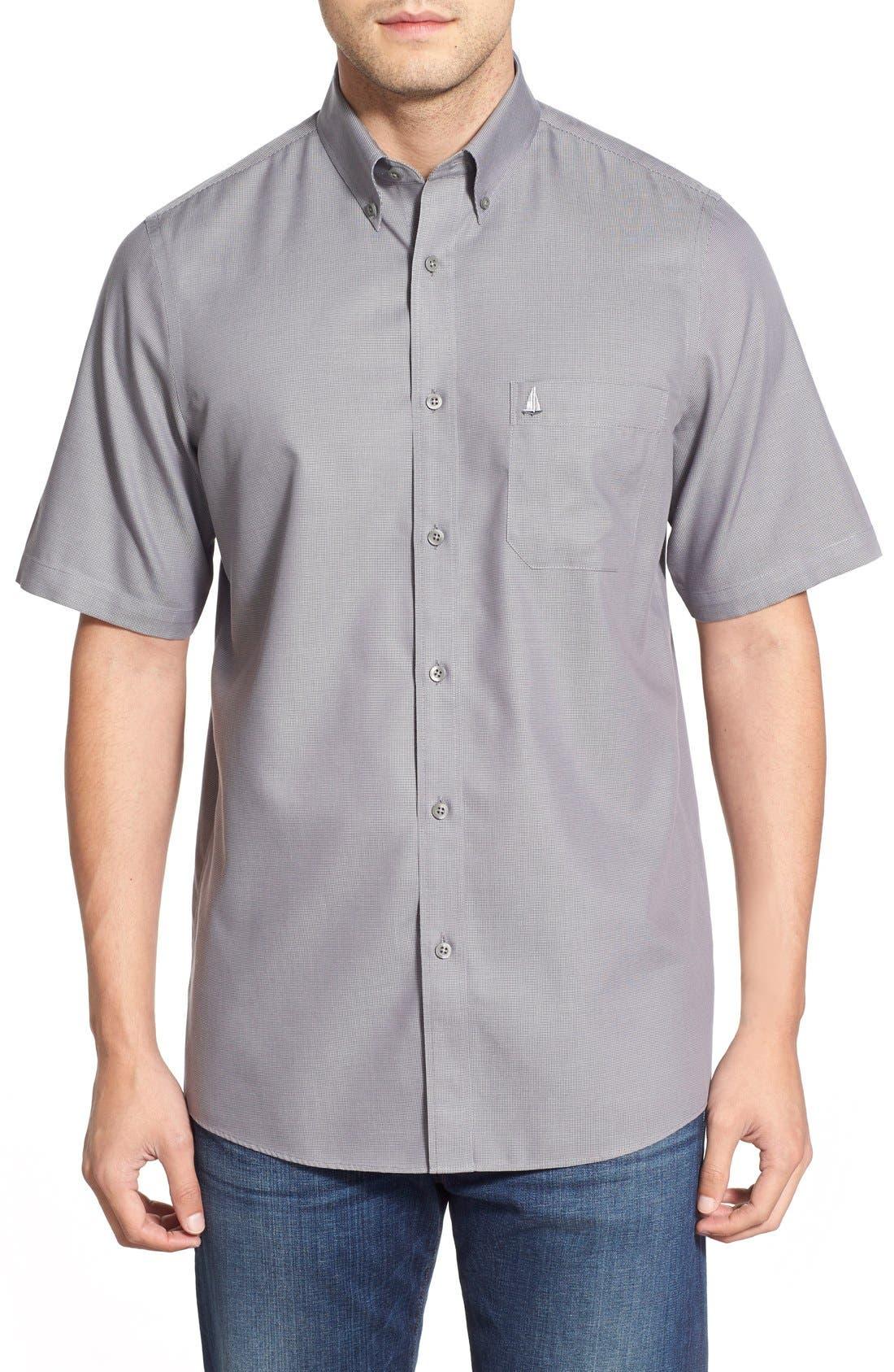 'Classic' Smartcare<sup>™</sup> Regular Fit Short Sleeve Cotton Sport Shirt,                             Main thumbnail 8, color,