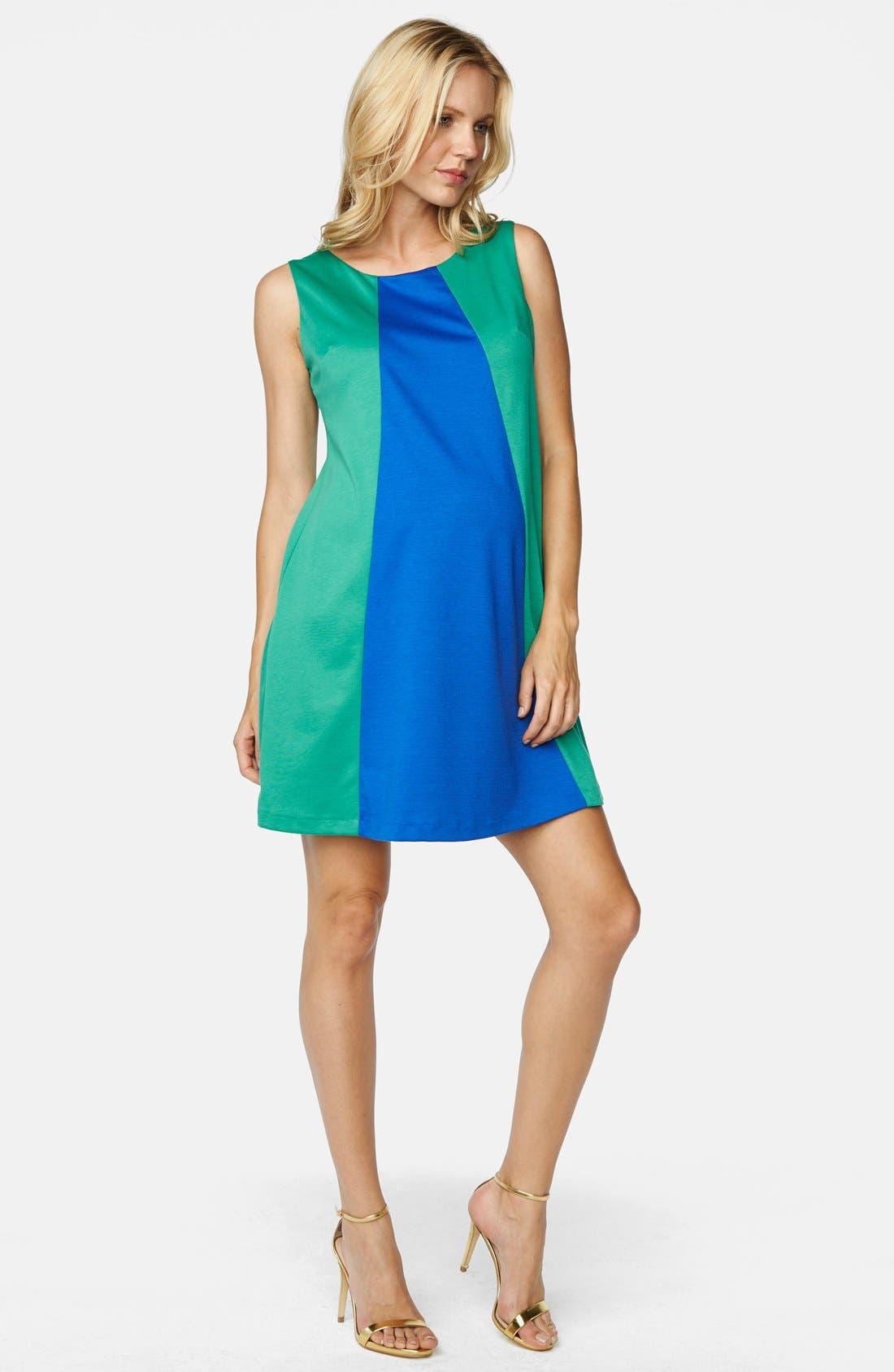 MATERNAL AMERICA,                             'Pyramid' Maternity Dress,                             Main thumbnail 1, color,                             EMERALD/ ROYAL BLUE