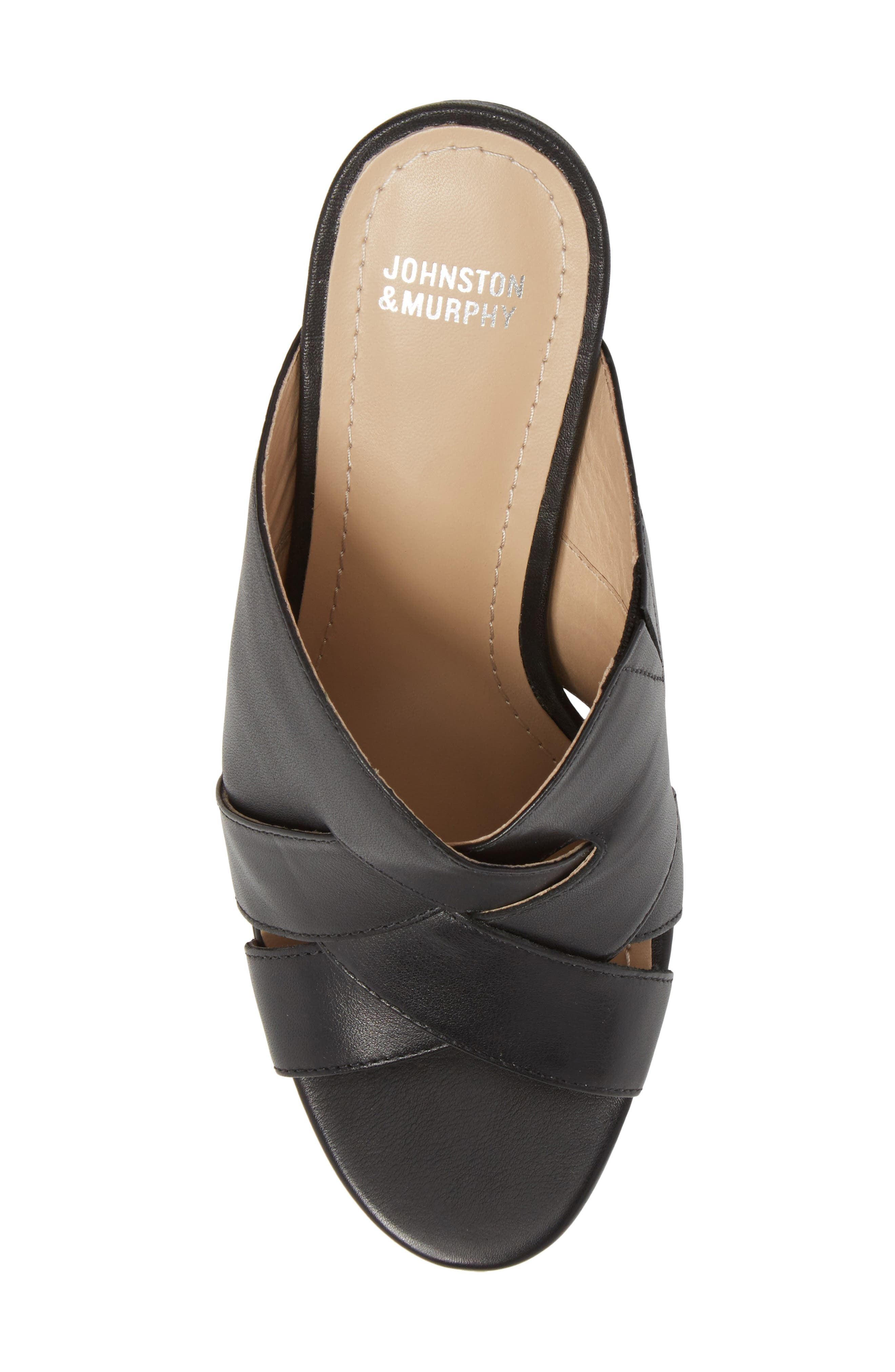 Carrie Mule Sandal,                             Alternate thumbnail 5, color,                             BLACK LEATHER