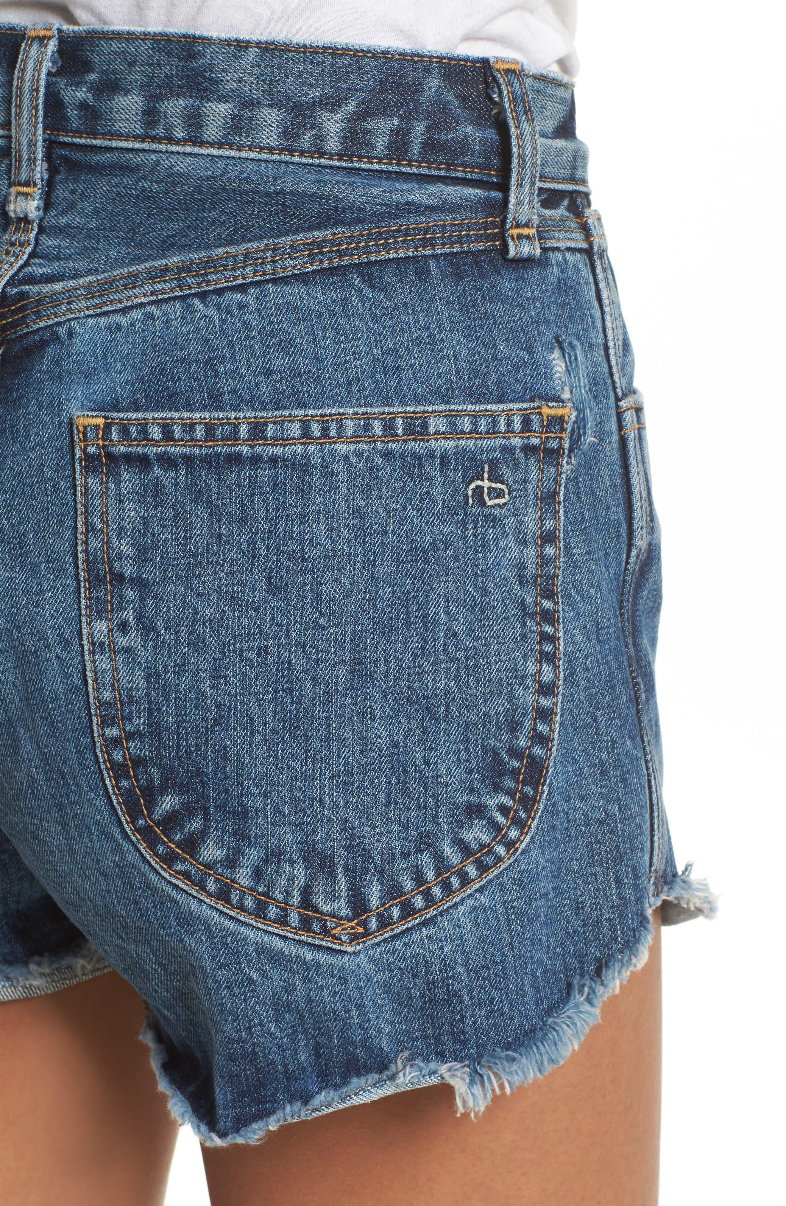 Lou High Waist Cutoff Denim Shorts,                             Alternate thumbnail 4, color,                             400