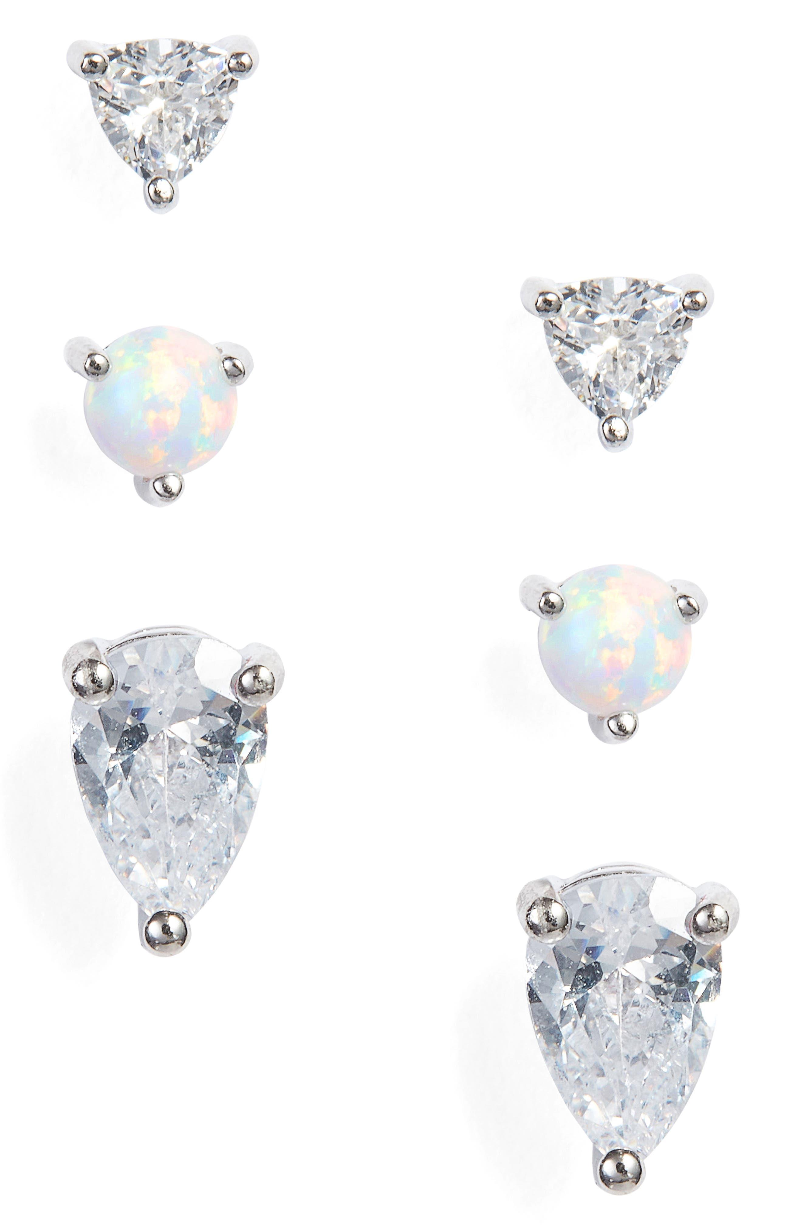 Set of 3 Opal Geo Stud Earrings,                             Main thumbnail 1, color,                             040