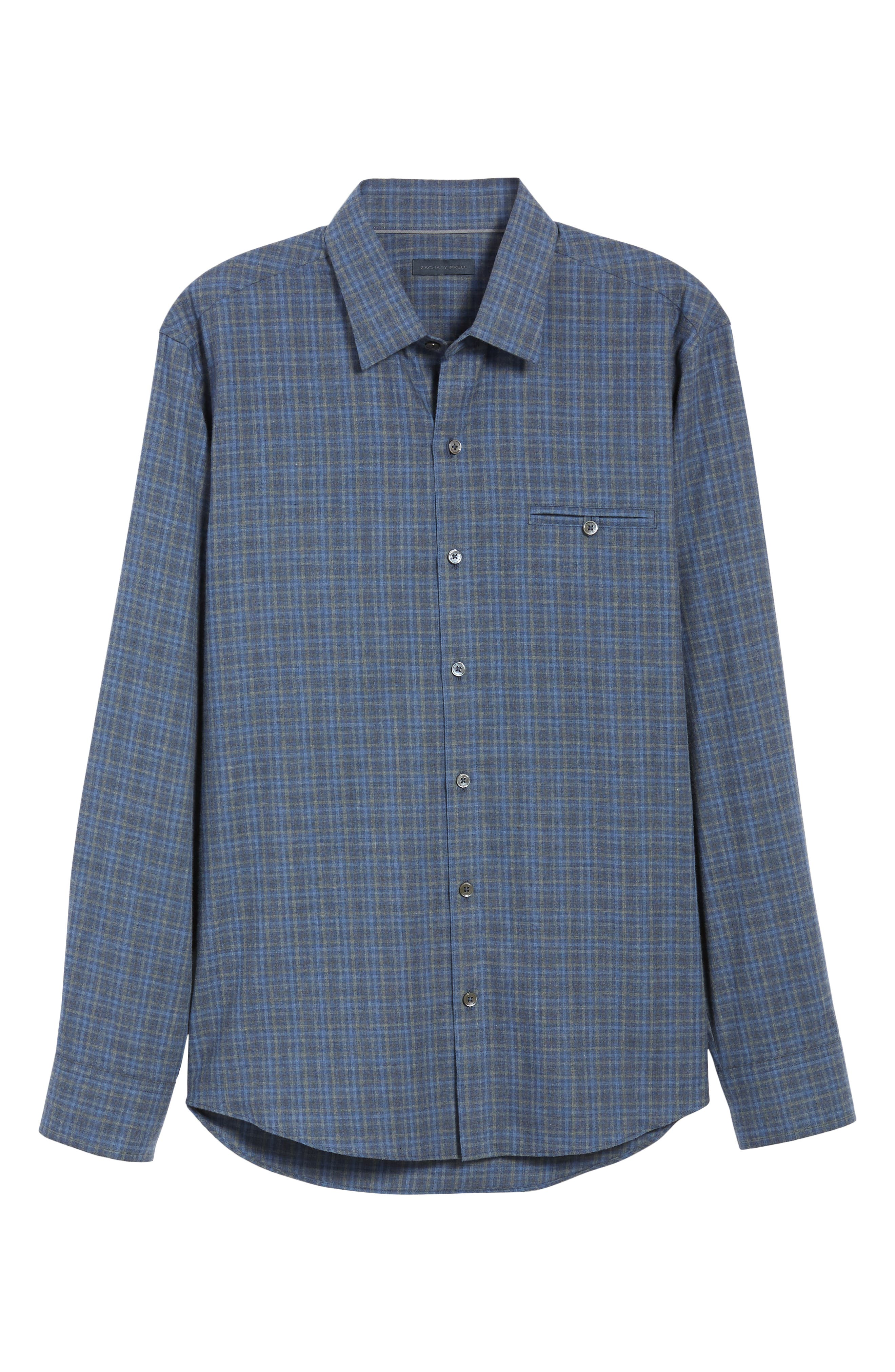 Nguyen Regular Fit Sport Shirt,                             Alternate thumbnail 5, color,                             DARK BLUE