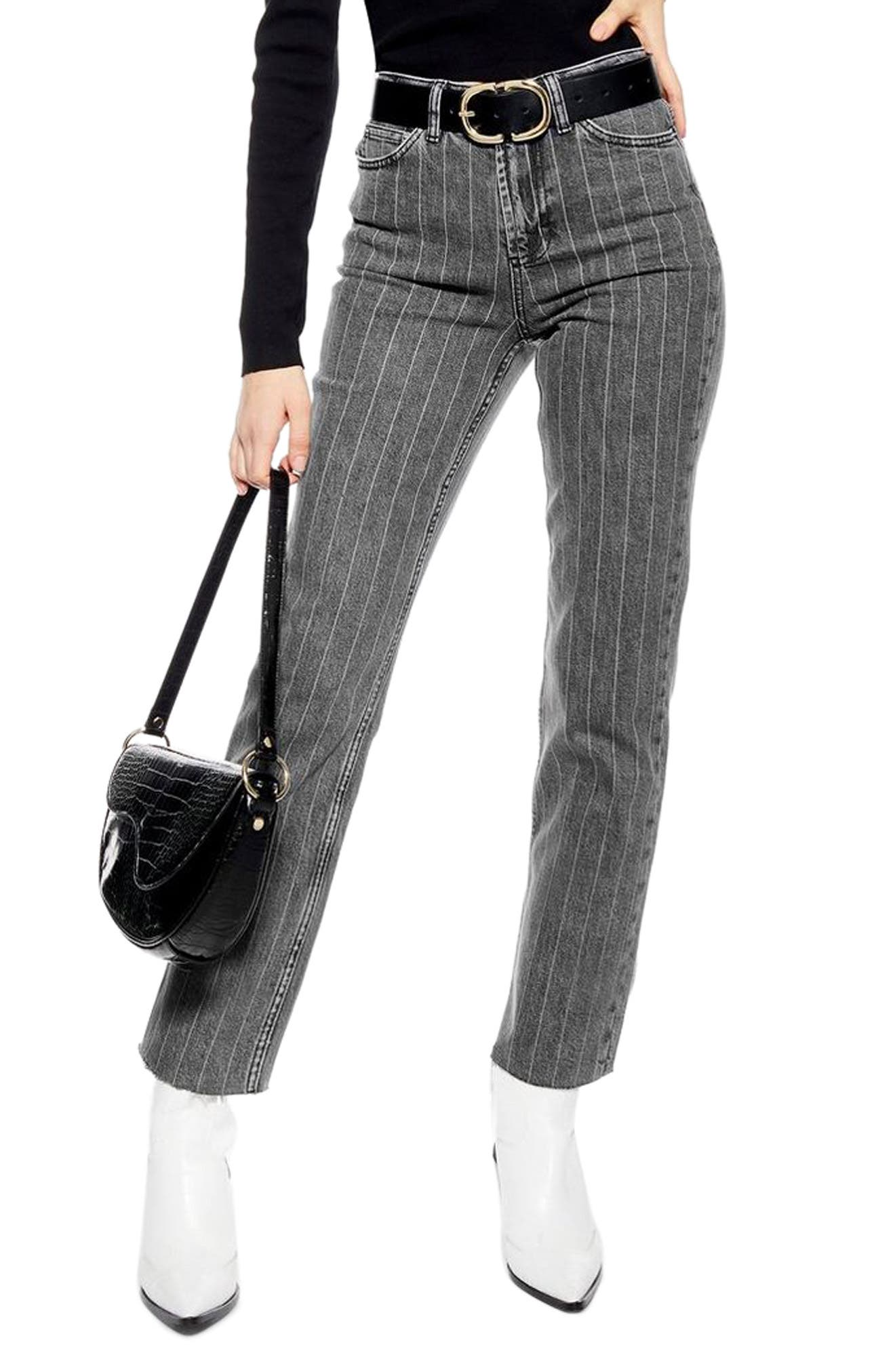 High Waist Pinstripe Jeans, Main, color, WASHED BLACK