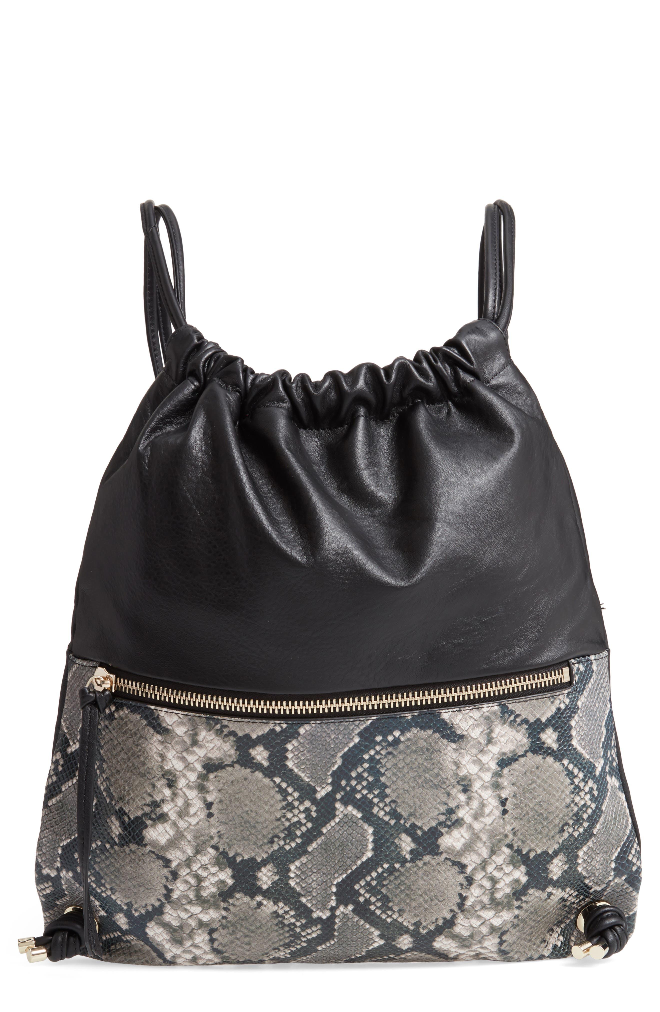 Kira Leather Backpack,                             Main thumbnail 1, color,                             BLACK