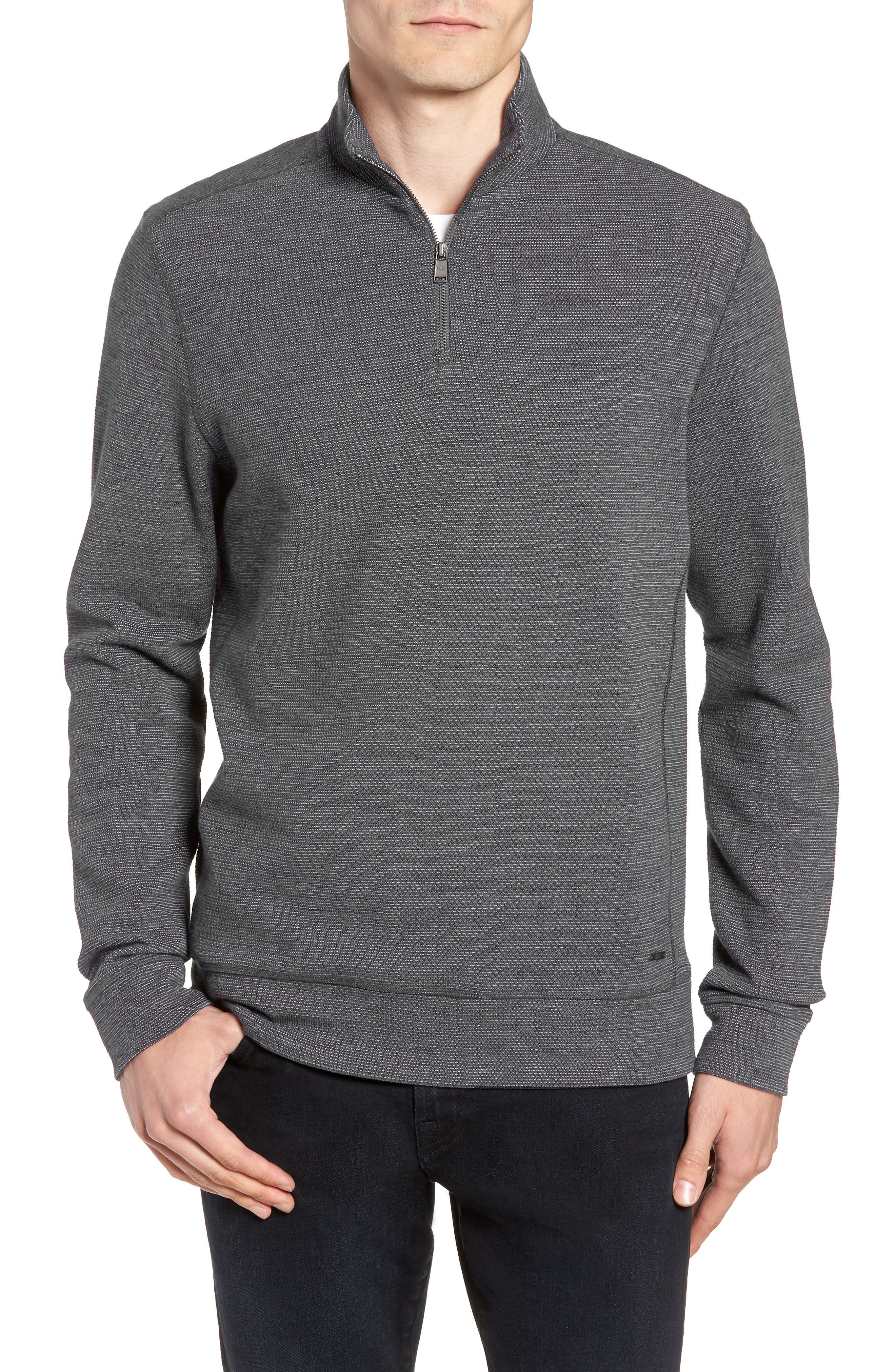 Slim Fit Quarter Zip Polo,                         Main,                         color, CHARCOAL