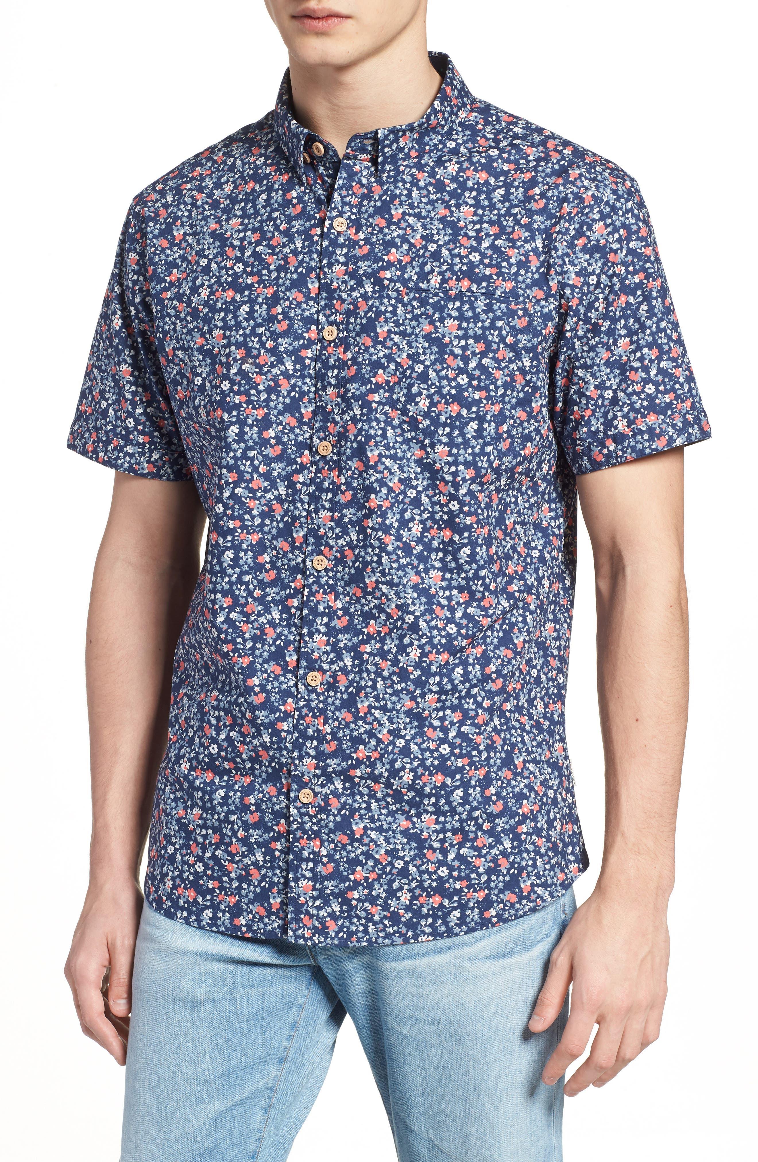 Memories Slim Fit Short Sleeve Sport Shirt,                         Main,                         color, 410