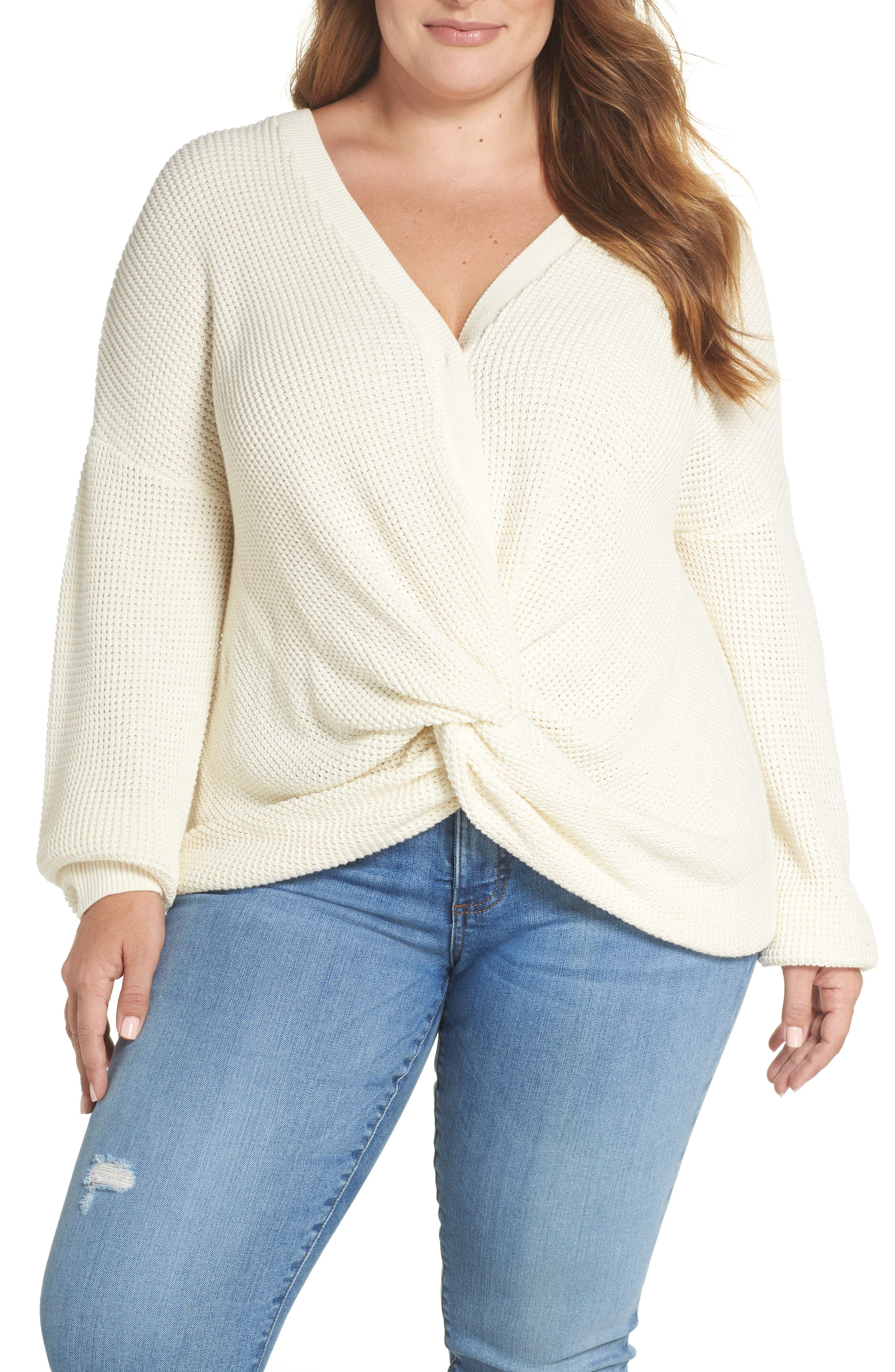 Twist Front Sweater,                         Main,                         color, IVORY